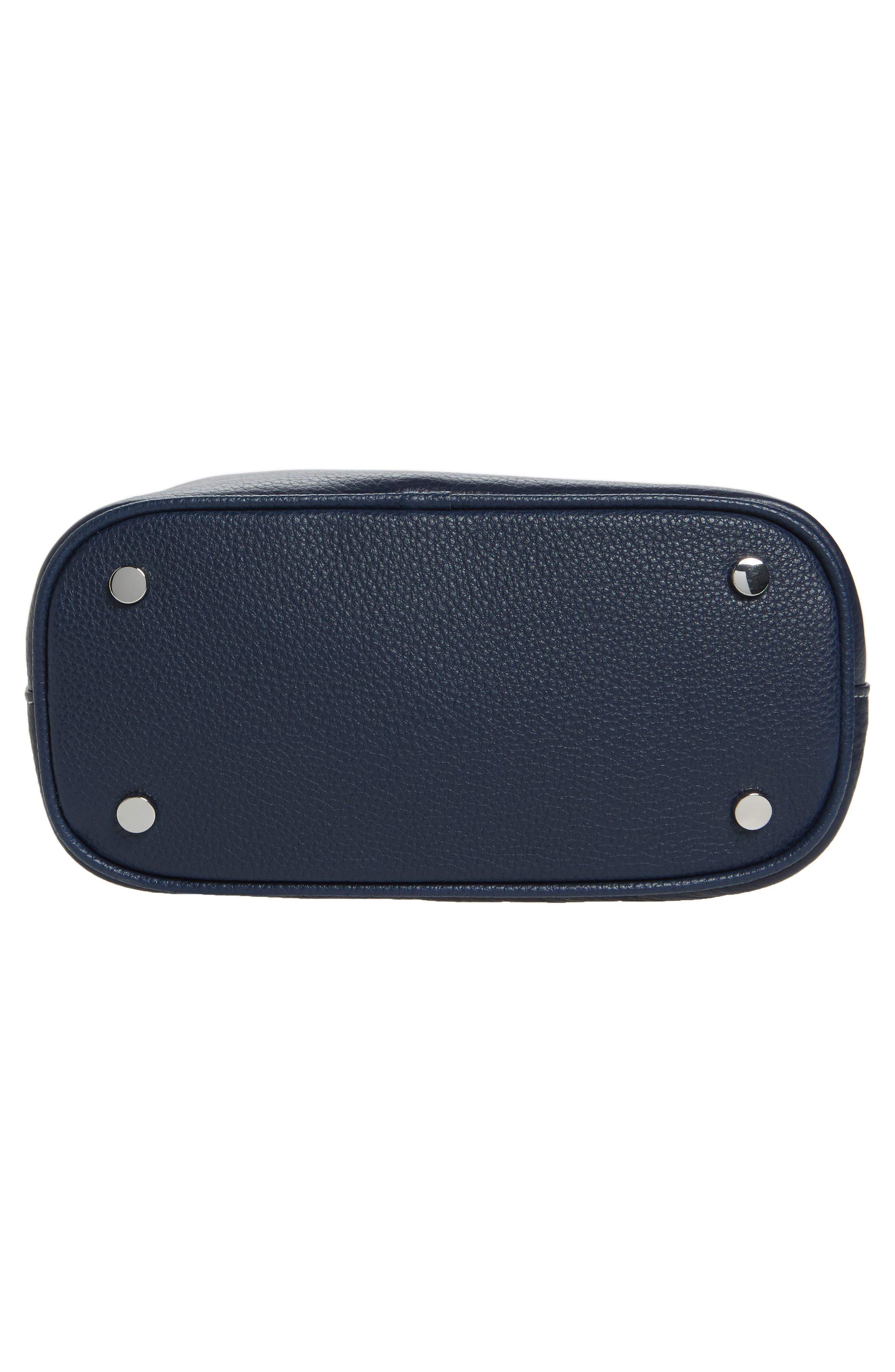 Small Elina Leather Crossbody Bag,                             Alternate thumbnail 6, color,                             Denim/ Ink Navy