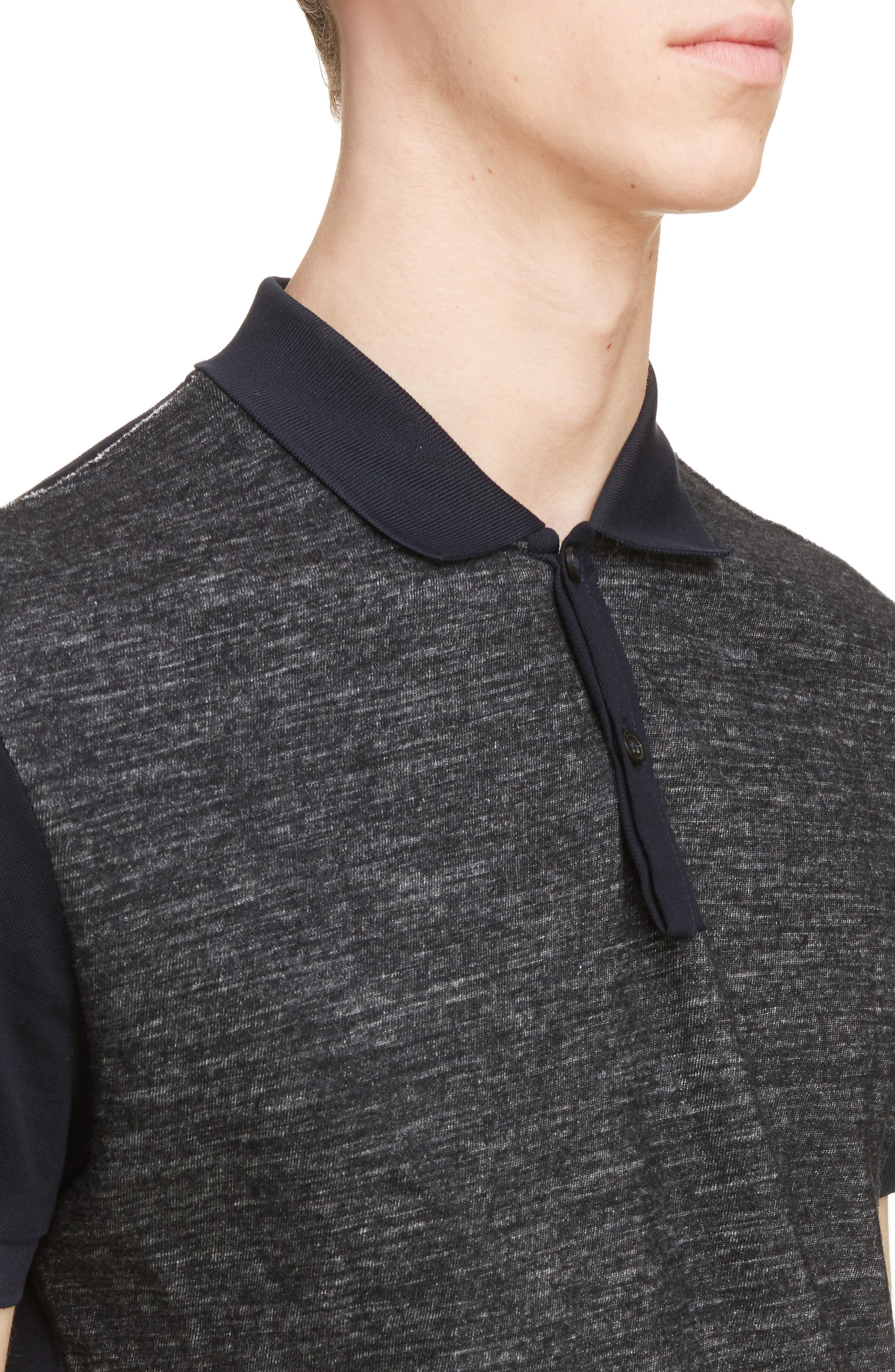 Wool Blend & Cotton Polo,                             Alternate thumbnail 4, color,                             Navy