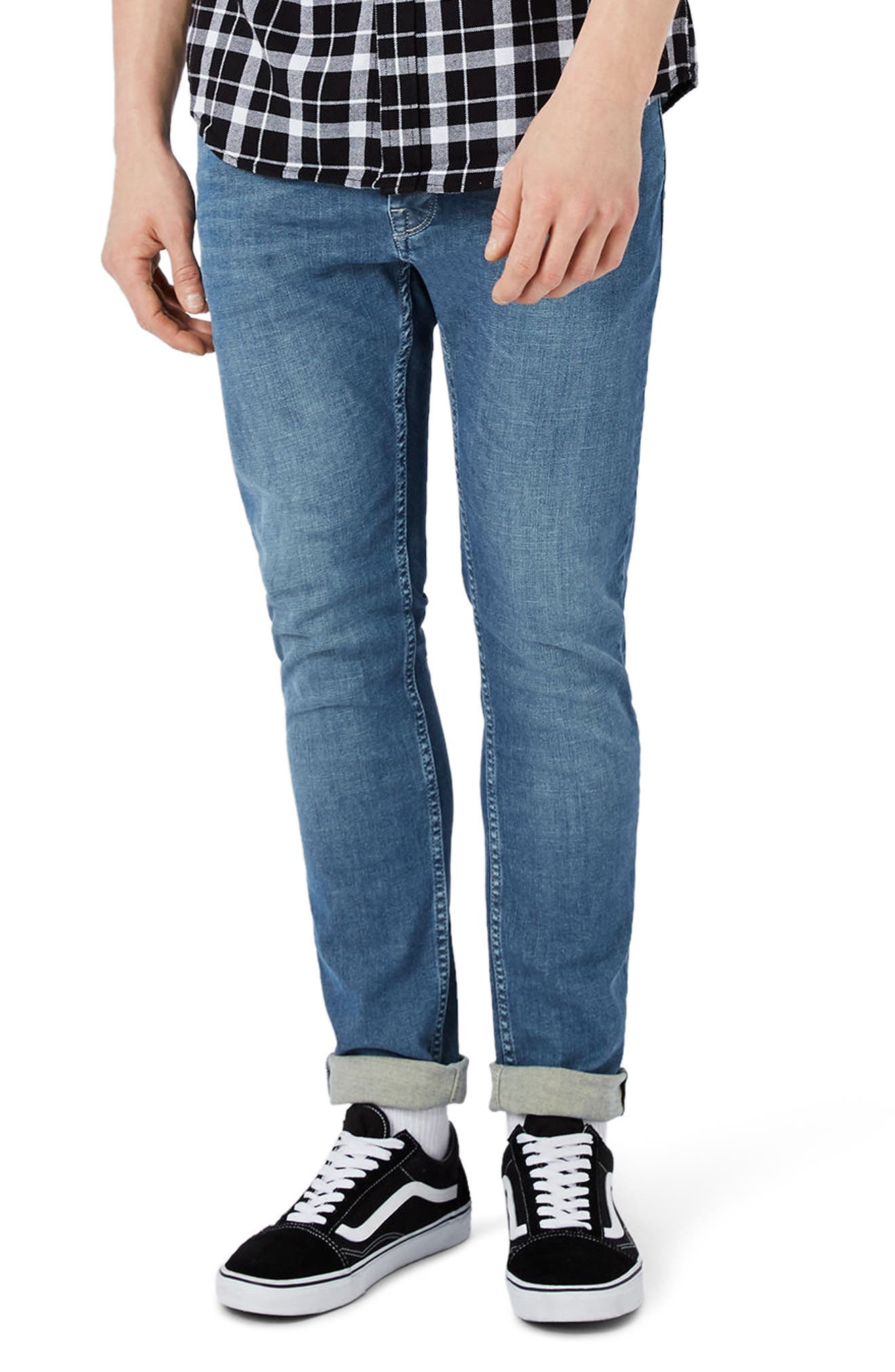 Stretch Skinny Fit Jeans,                             Main thumbnail 1, color,                             Mid Blue