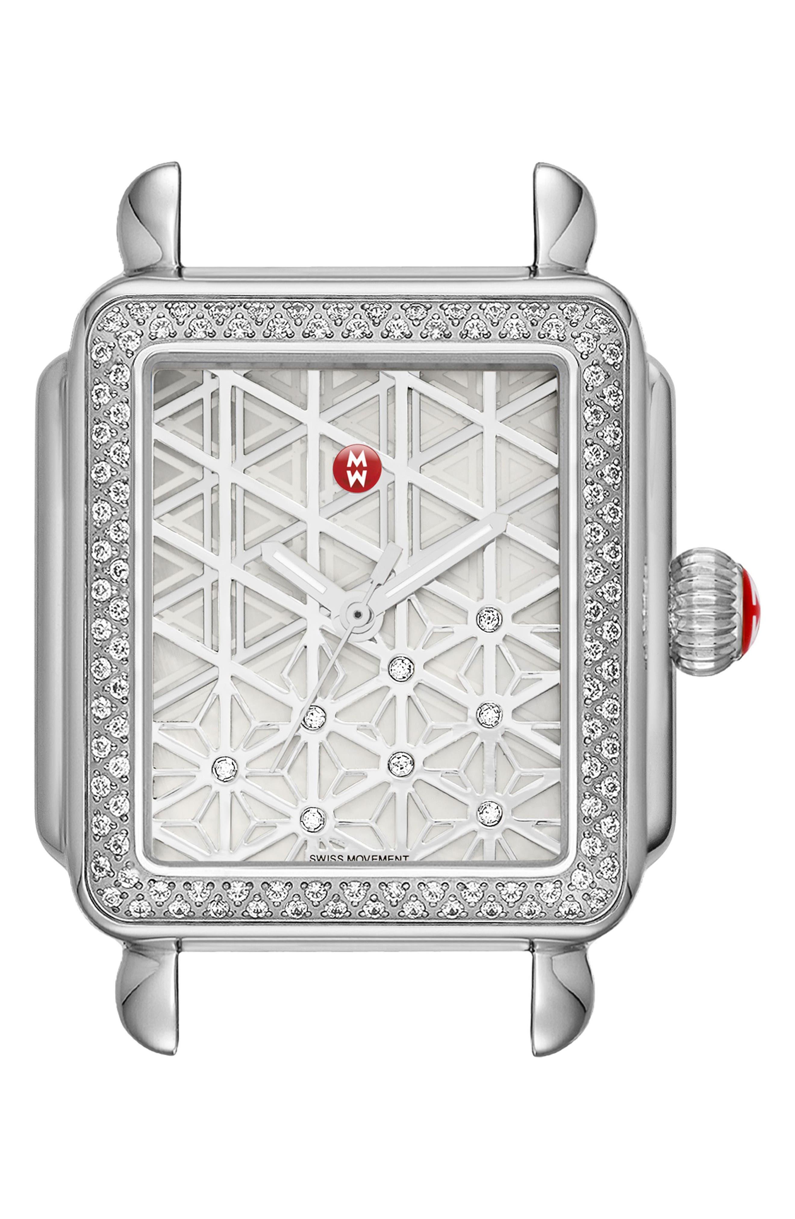 Main Image - MICHELE Deco Diamond Diamond Dial Watch Case, 33mm x 35mm