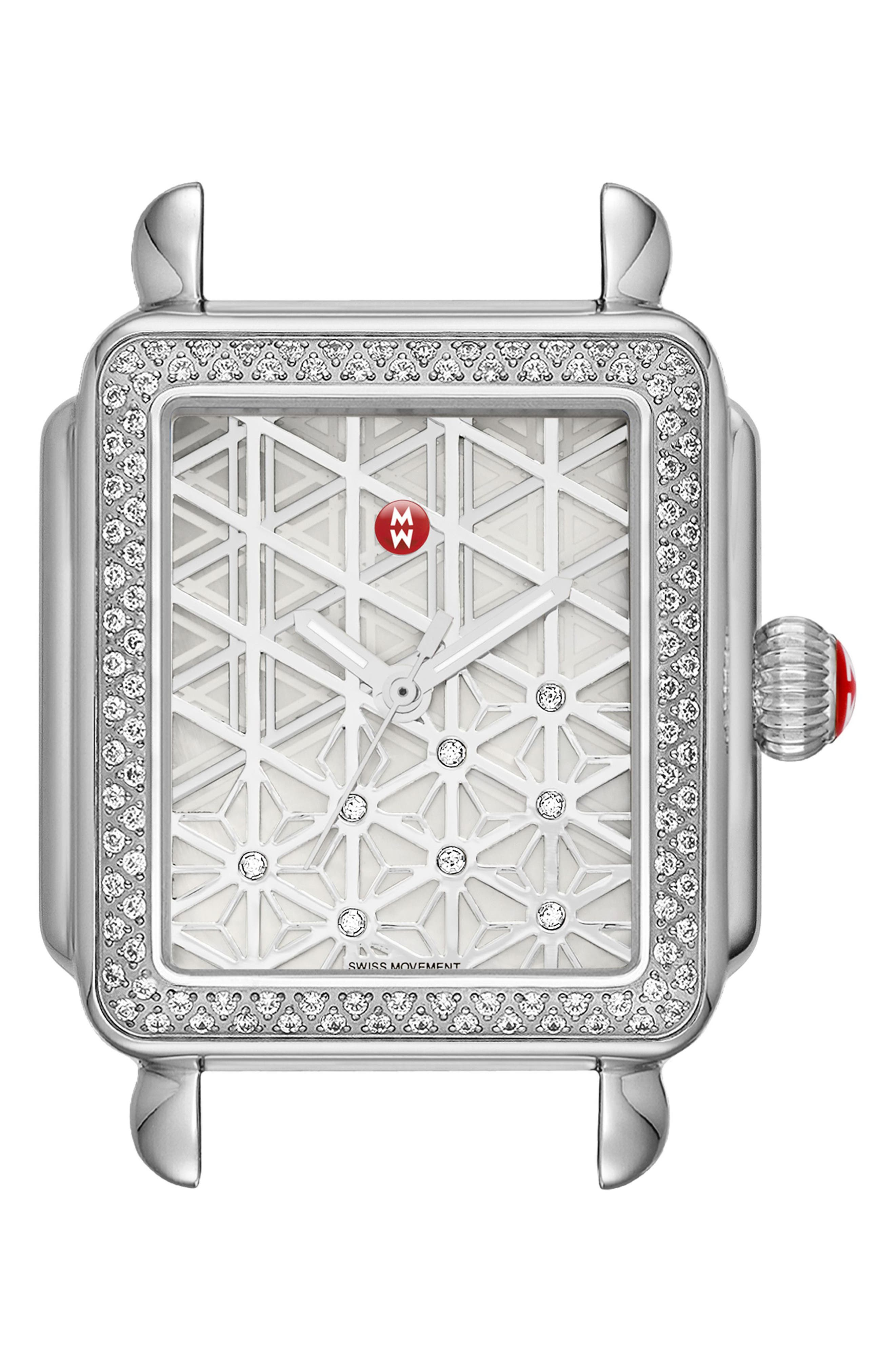 Deco Diamond Diamond Dial Watch Case, 33mm x 35mm,                         Main,                         color, Silver/ Mother Of Pearl
