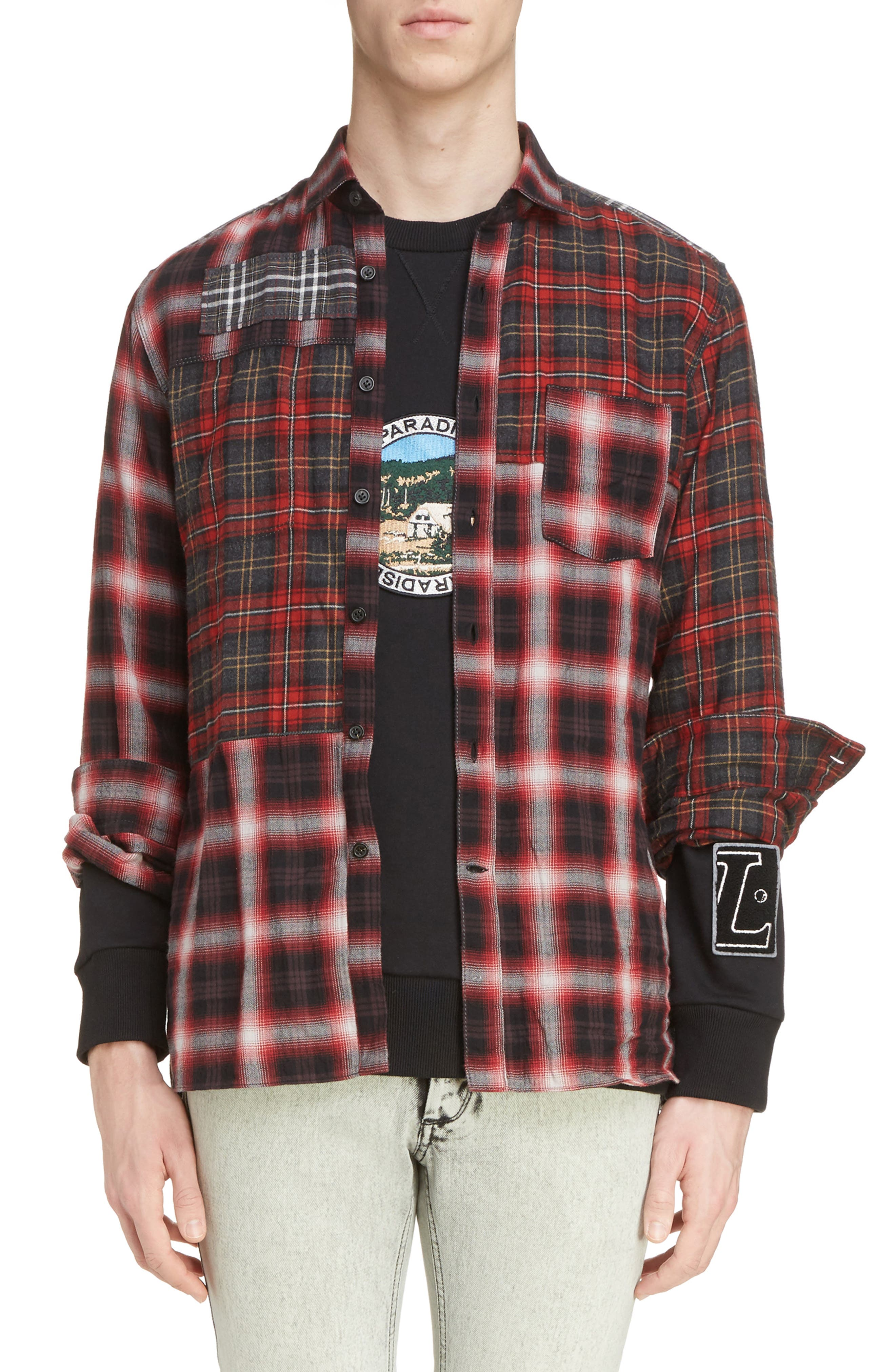 Pieced Plaid Flannel Shirt,                             Main thumbnail 1, color,                             Grey/ Red
