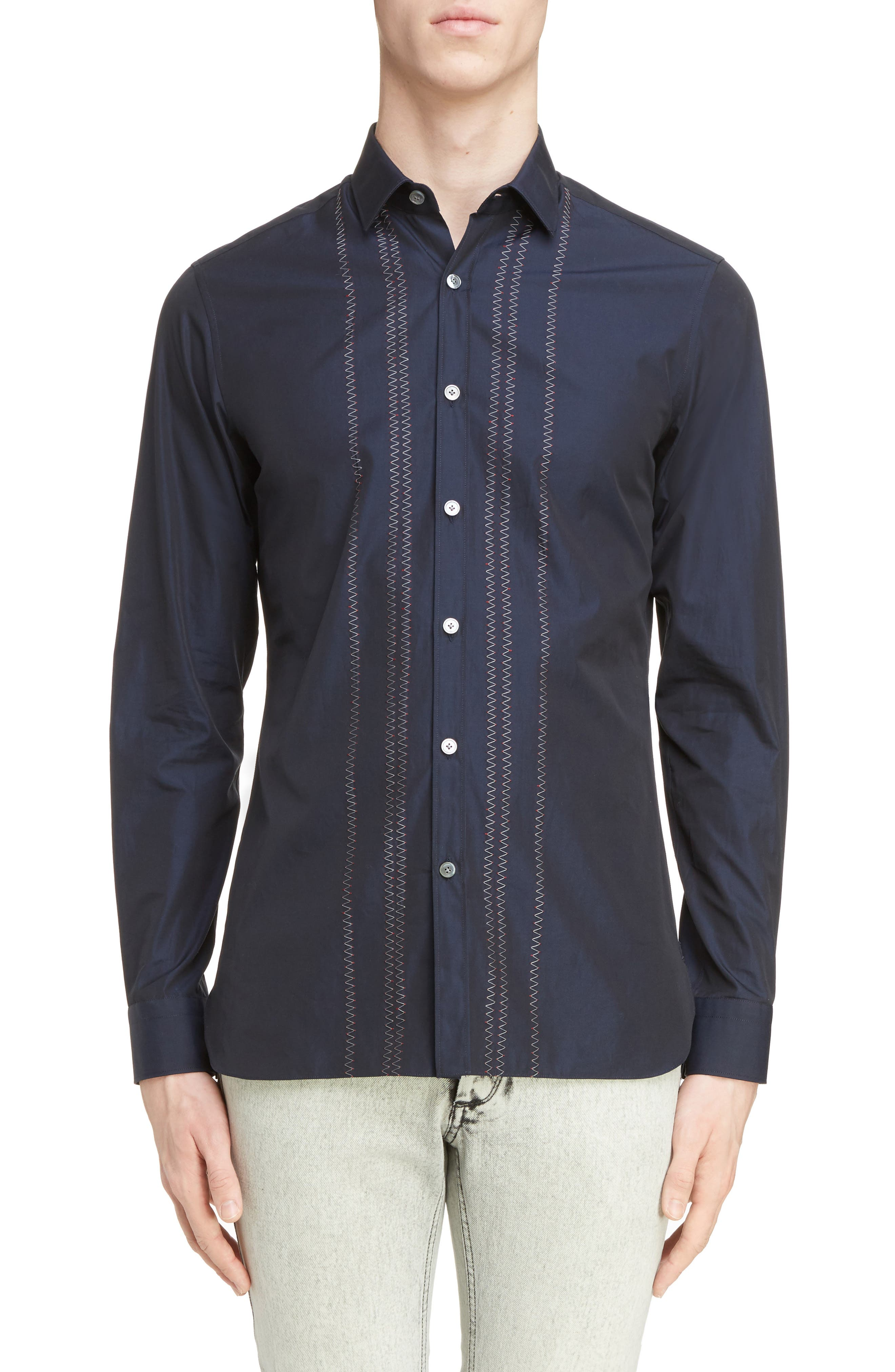 Zigzag Embroidered Cotton & Silk Sport Shirt,                         Main,                         color, Navy