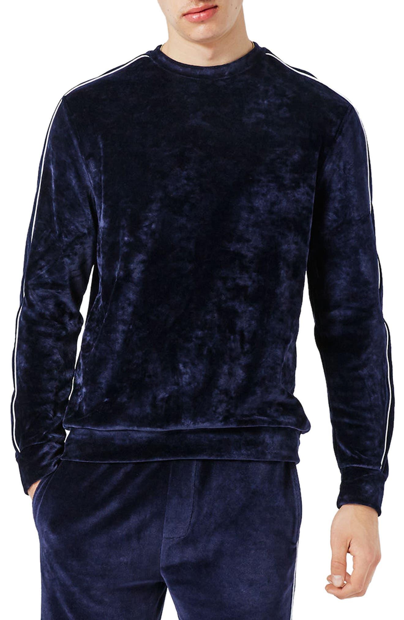 Topman Piped Velour Sweatshirt