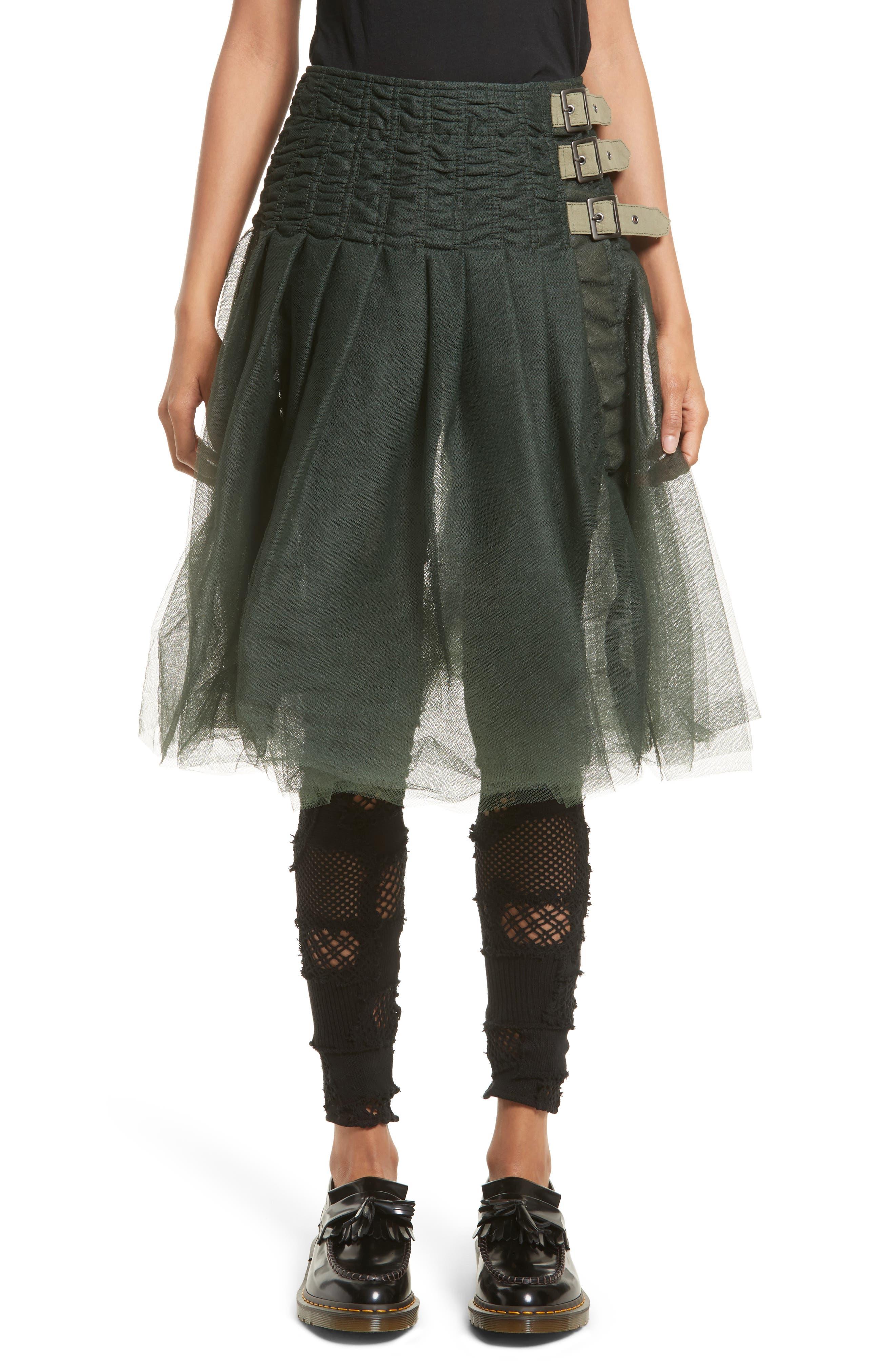 Tulle Skirt,                         Main,                         color, Khaki