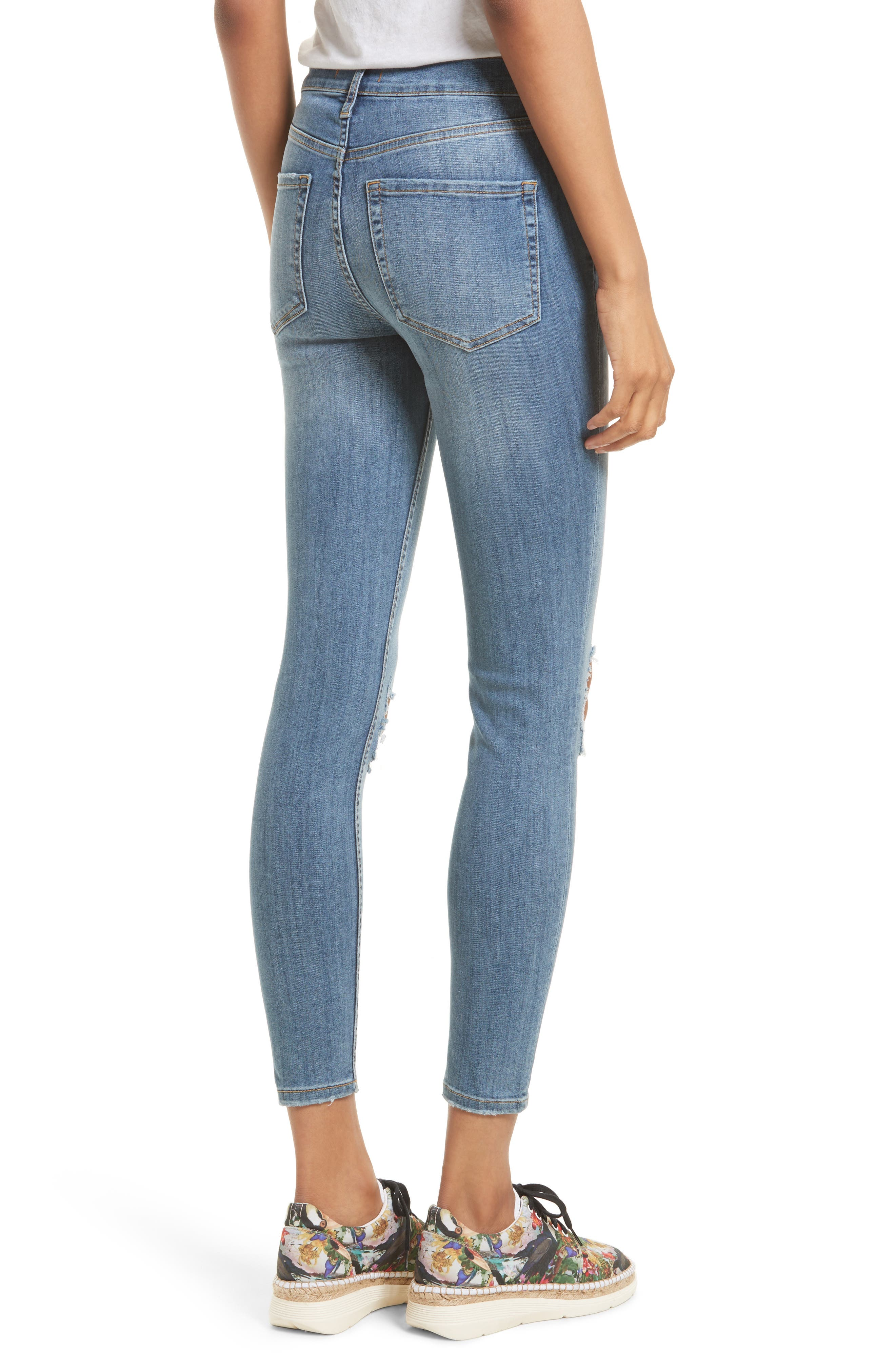 Alternate Image 2  - Free People High Rise Busted Knee Skinny Jeans (Light Denim)