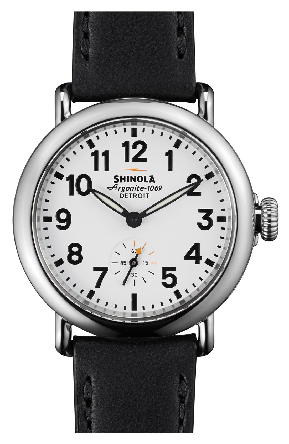 The Runwell Leather Strap Watch, 36mm,                         Main,                         color, Black/ White