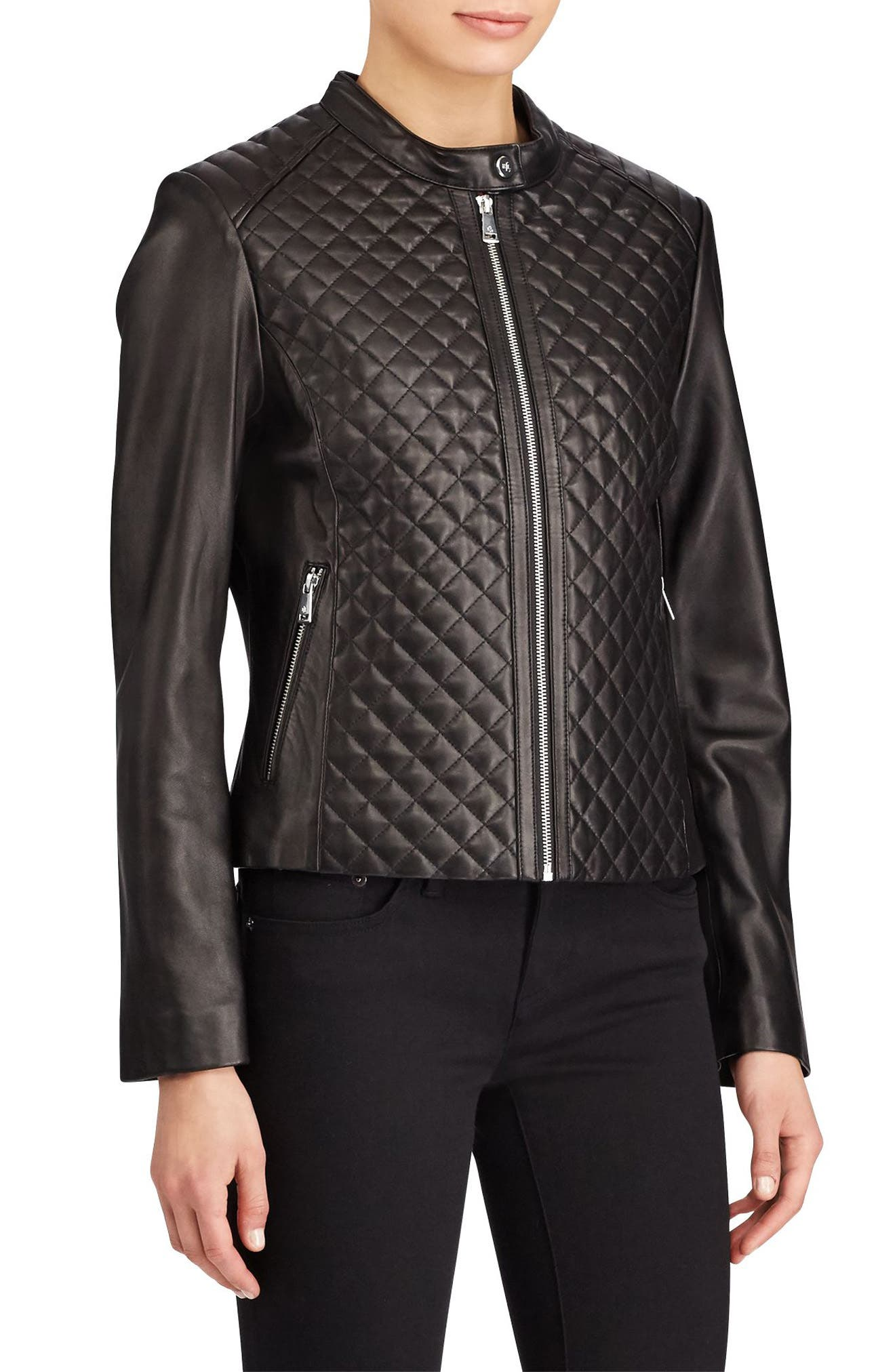 Quilted Detail Lambskin Leather Jacket,                             Main thumbnail 1, color,                             Black