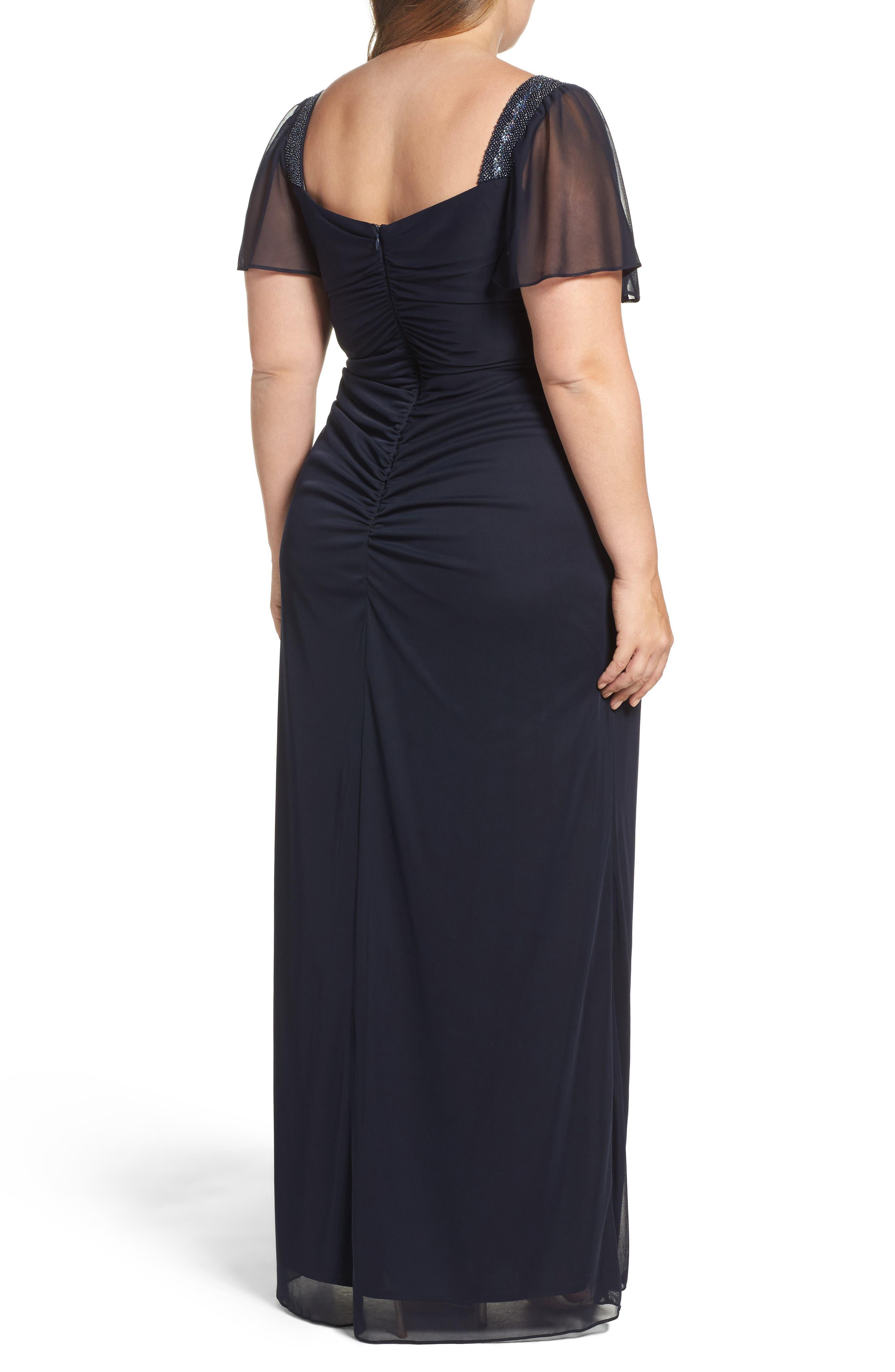Alternate Image 2  - Xscape Embellished Side Pleat Gown (Plus Size)
