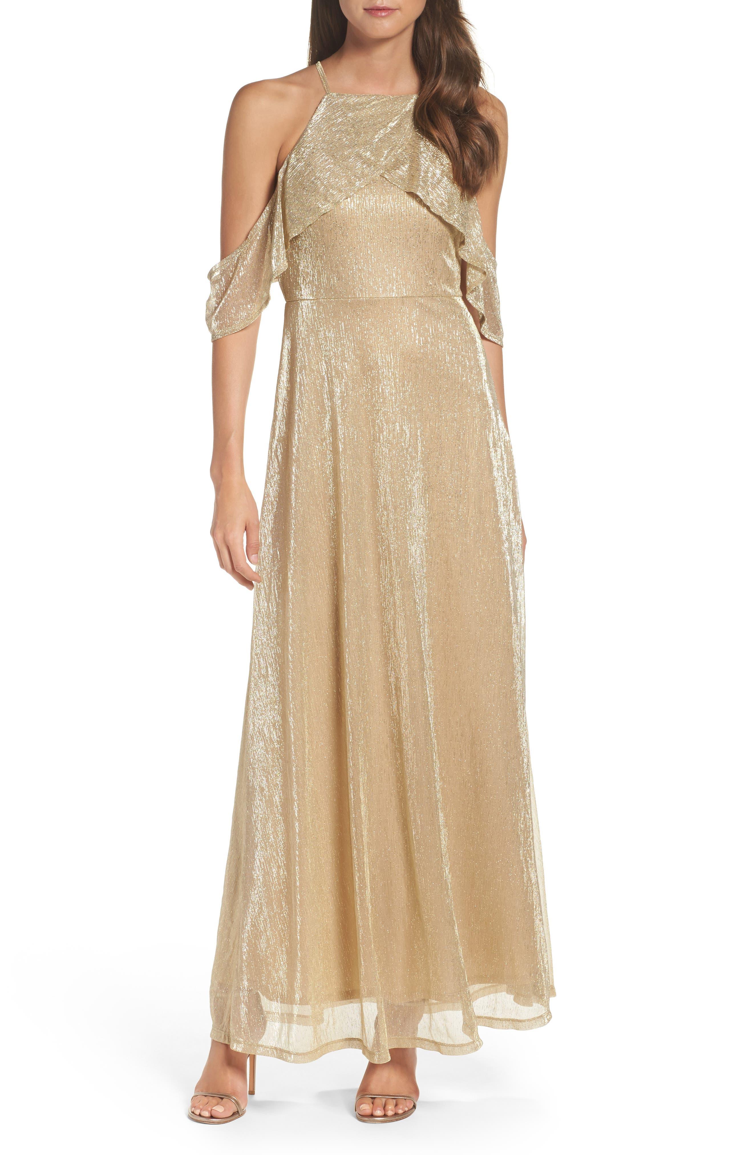 Cold Shoulder Gown,                             Main thumbnail 1, color,                             Gold