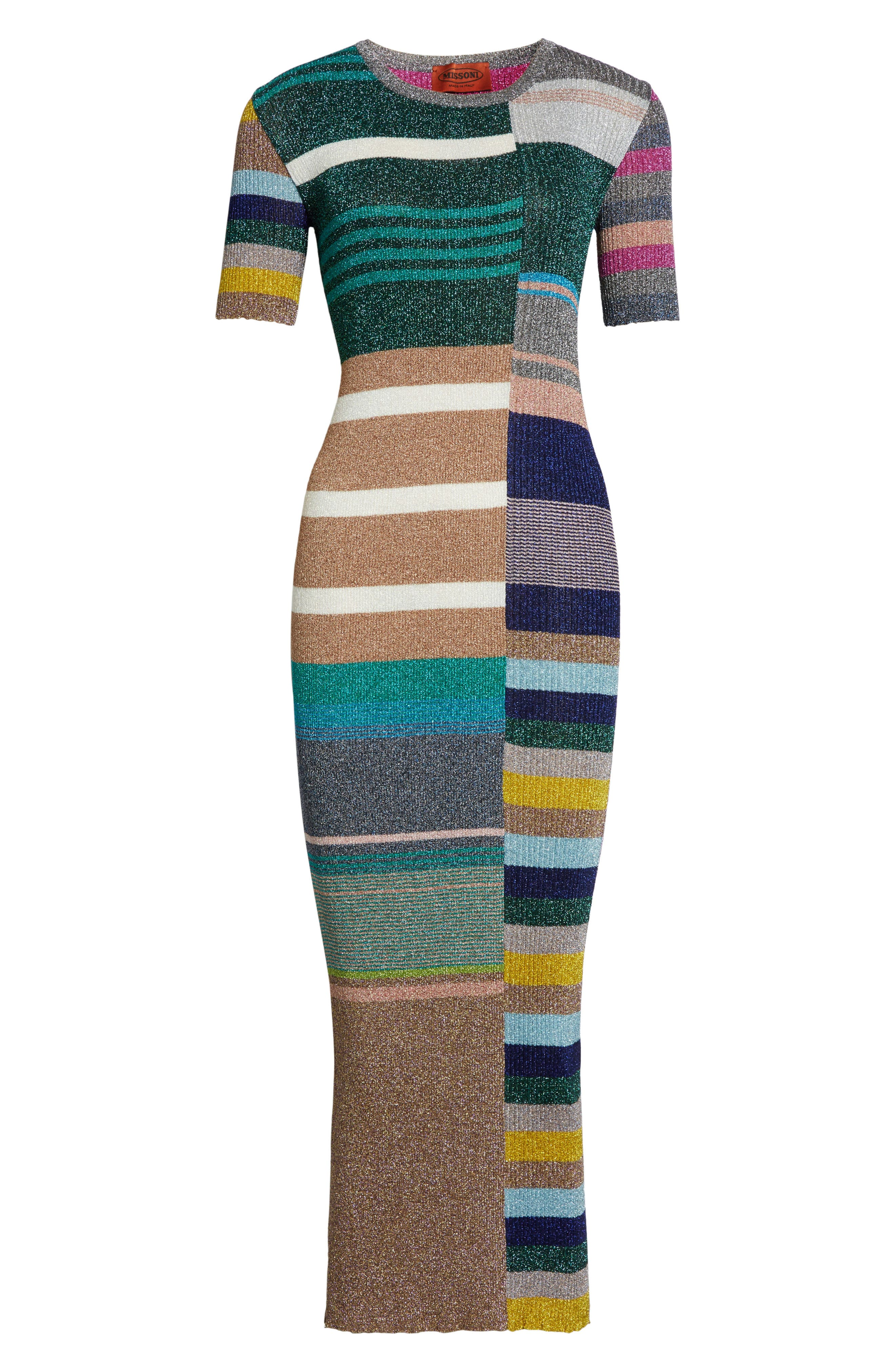 Metallic Stripe Rib Knit Dress,                             Alternate thumbnail 4, color,                             Multi