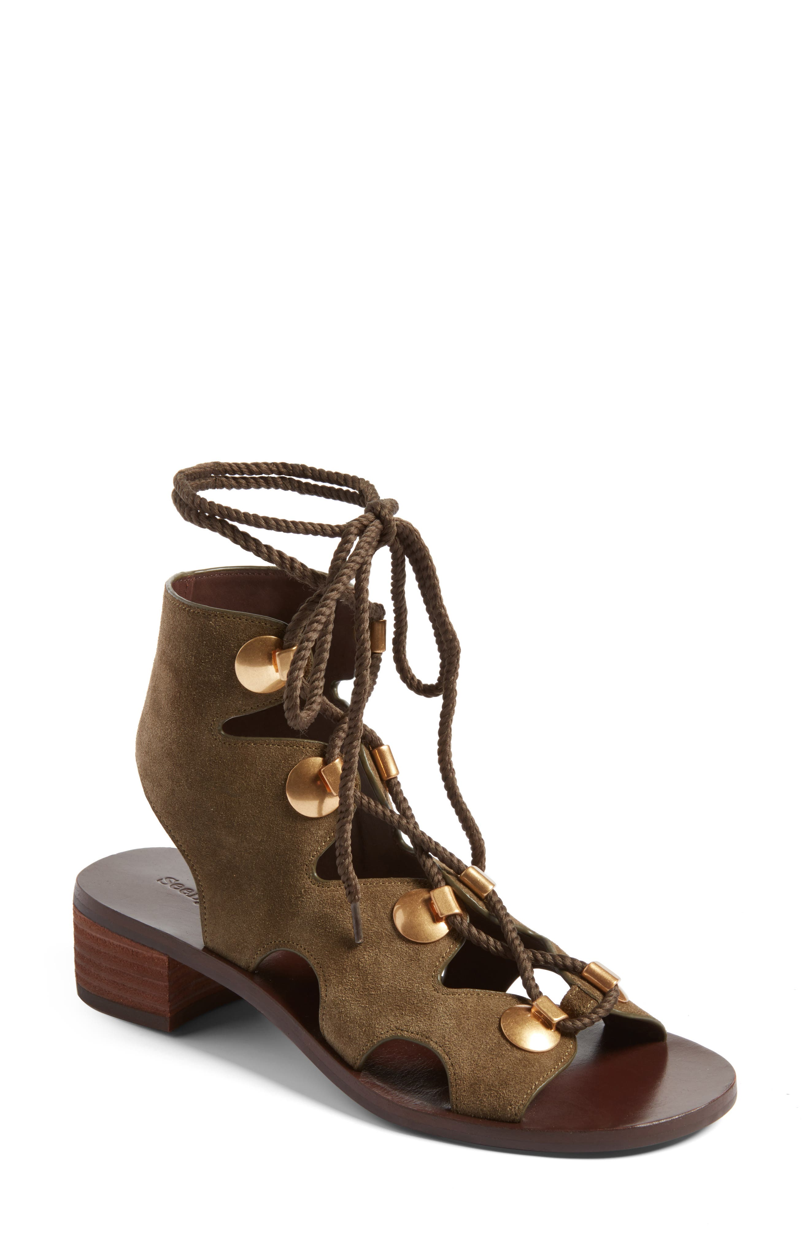 See by Chloe Edna Gladiator Sandal,                             Main thumbnail 1, color,                             Olive