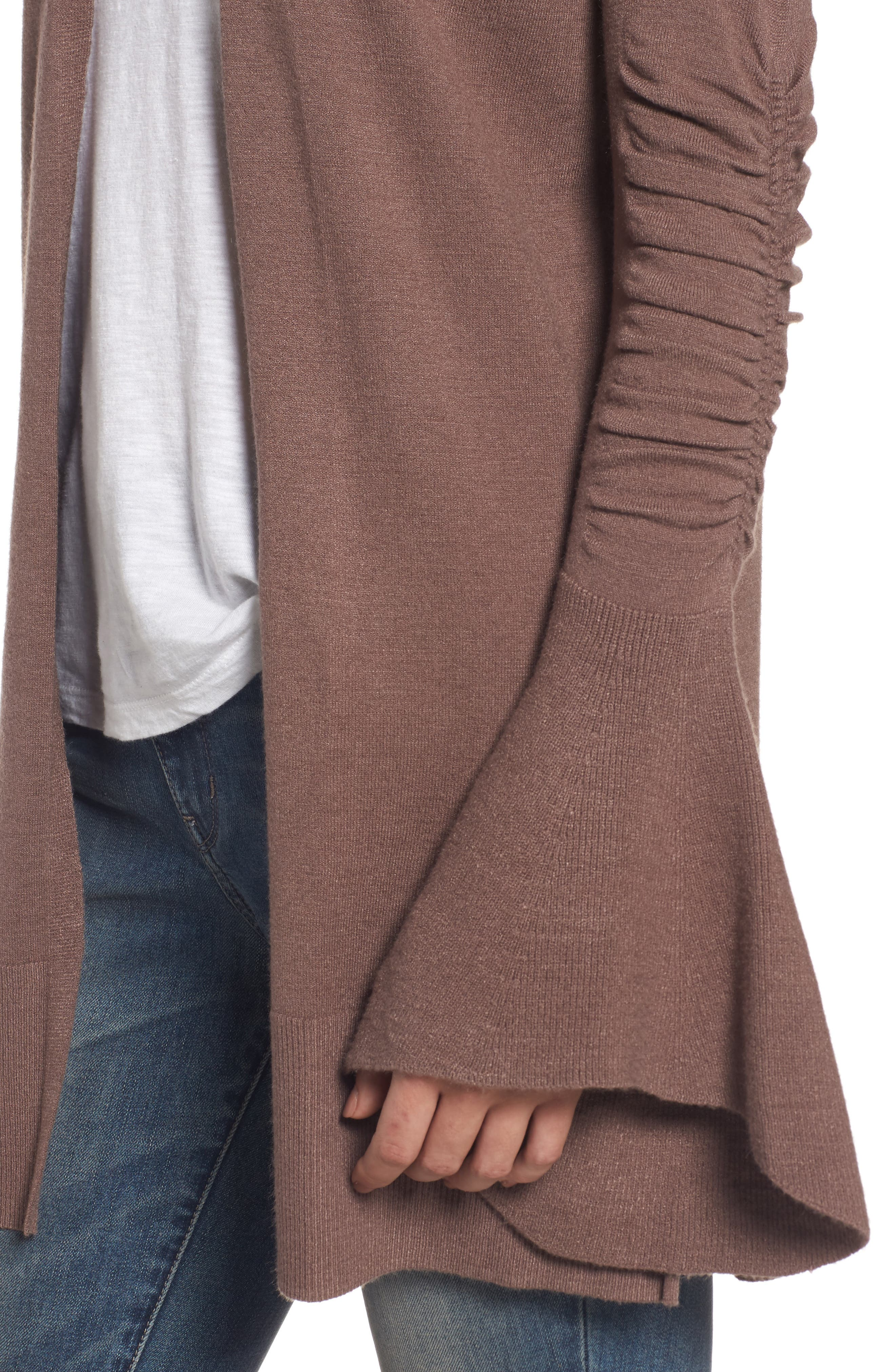 Ruched Bell Sleeve Cardigan,                             Alternate thumbnail 4, color,                             Brown Taupe