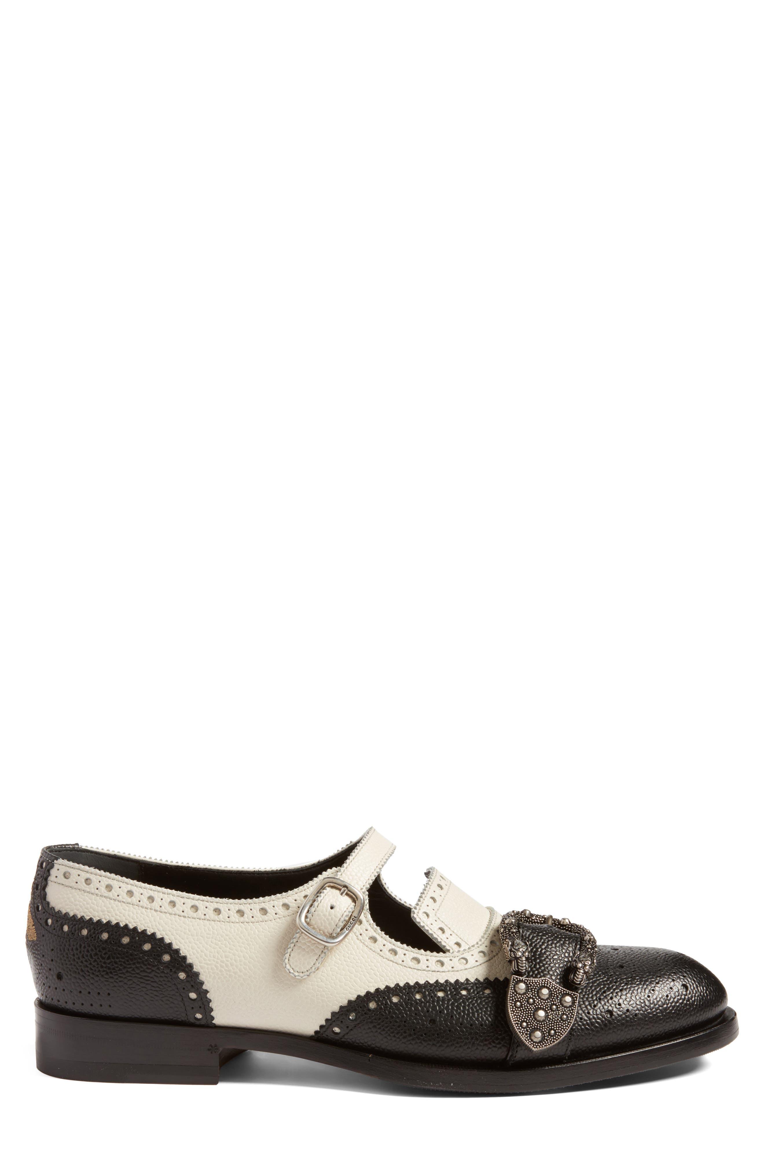 Queercore Brogue Monk Shoe,                             Alternate thumbnail 3, color,                             Black White Multi