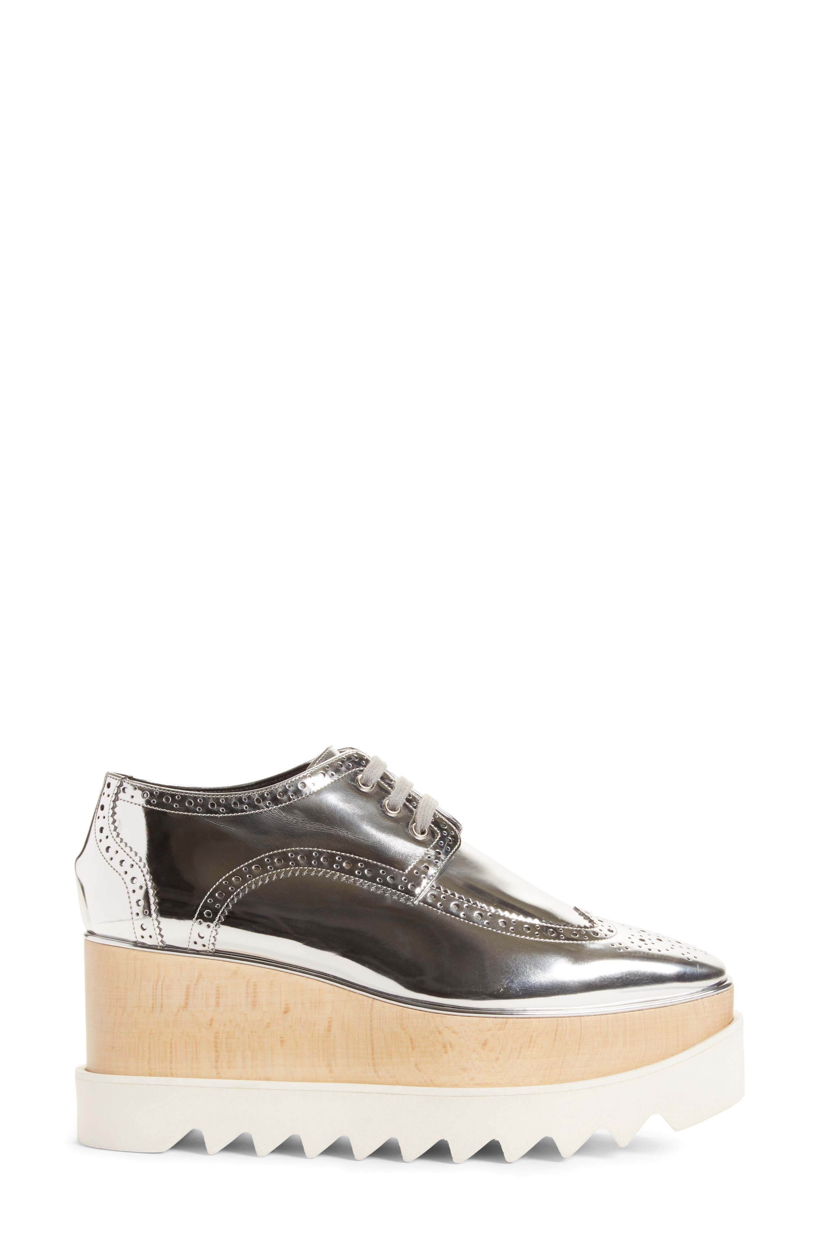 Elyse Brogue Platform Loafer,                             Alternate thumbnail 3, color,                             Metallic Silver