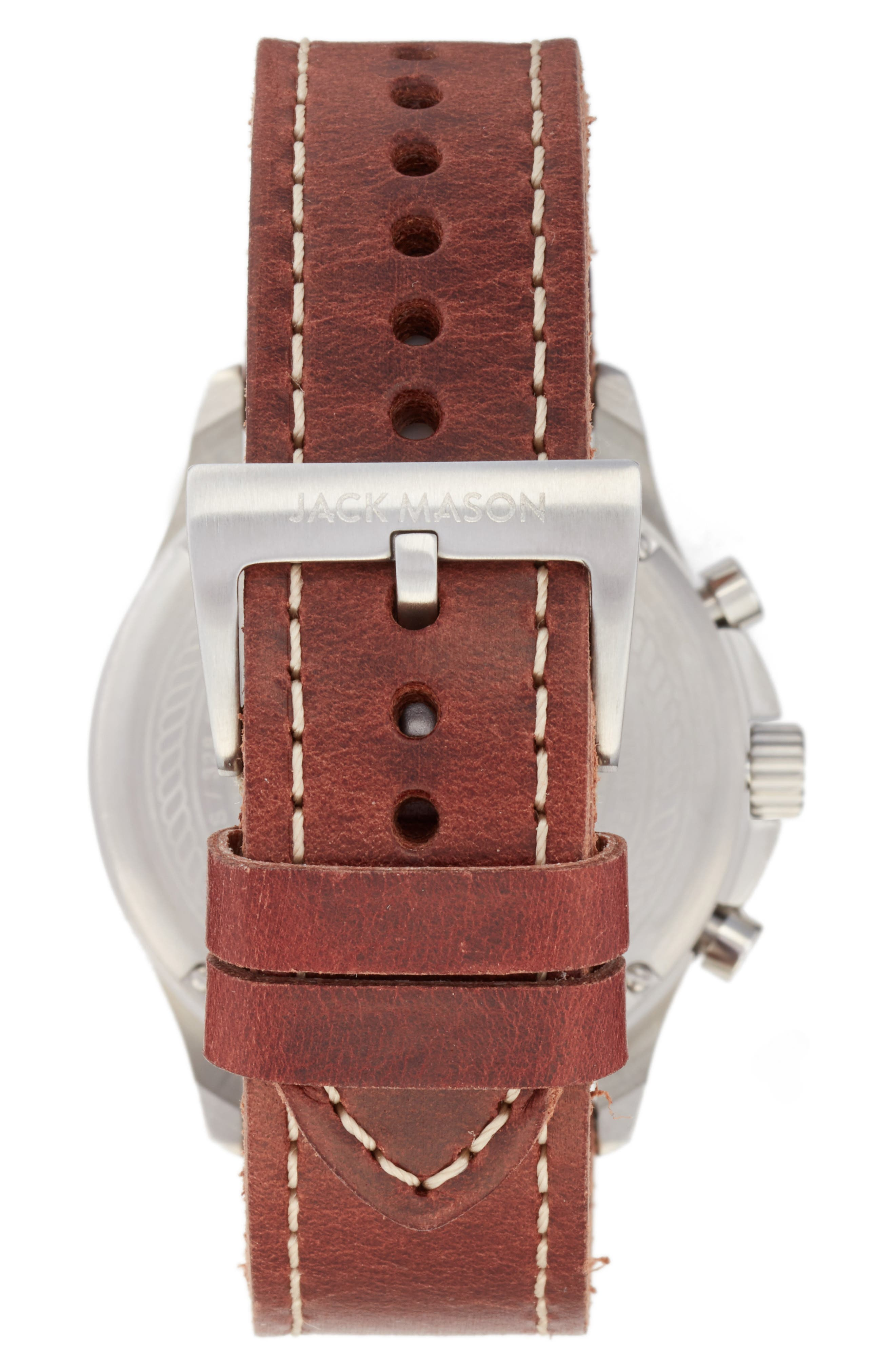Field Chronograph Leather Strap Watch, 42mm,                             Alternate thumbnail 2, color,                             Grey/ Brown