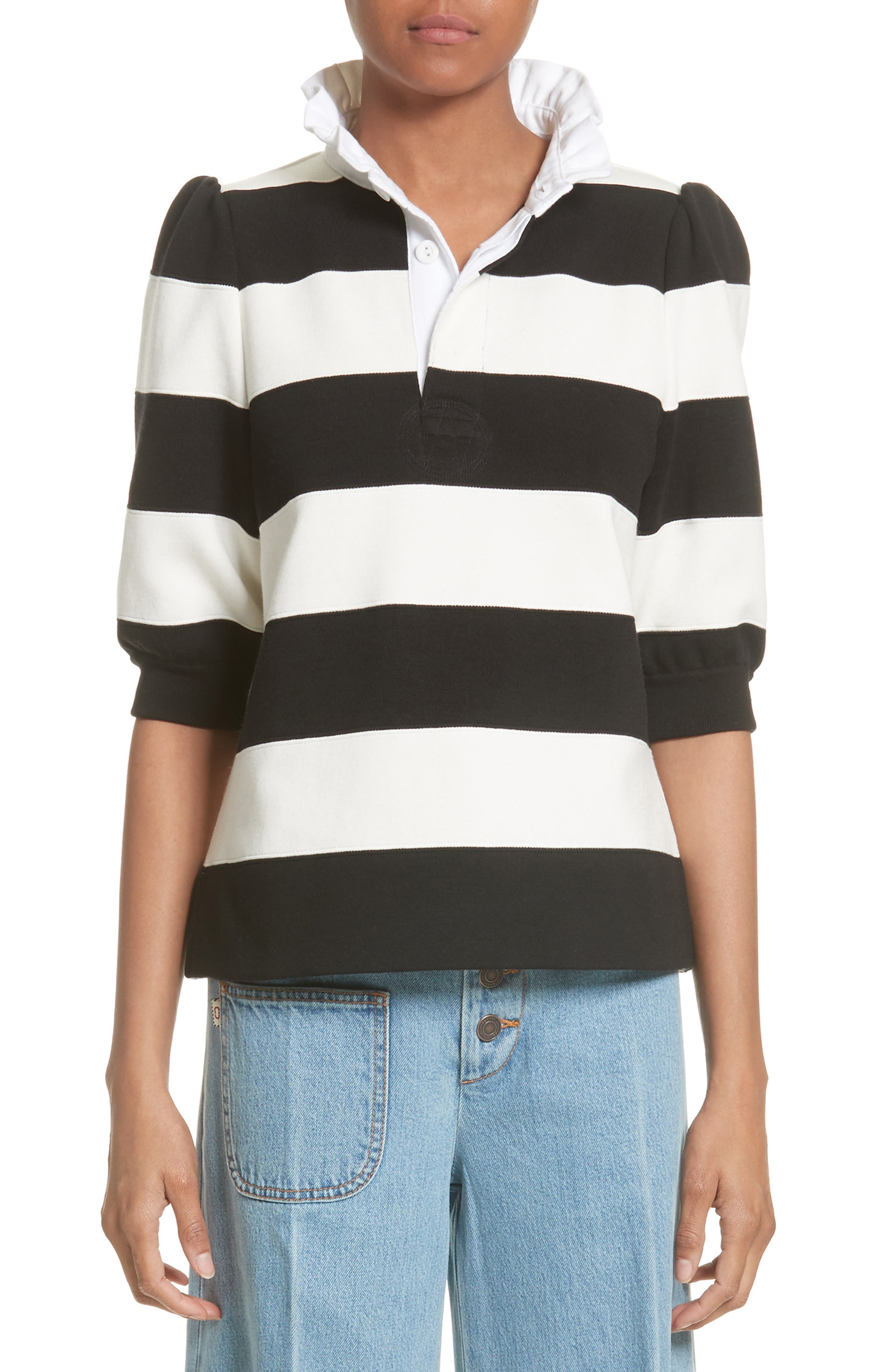 MARC JACOBS Puff Sleeve Rugby Sweater (Nordstrom Exclusive)