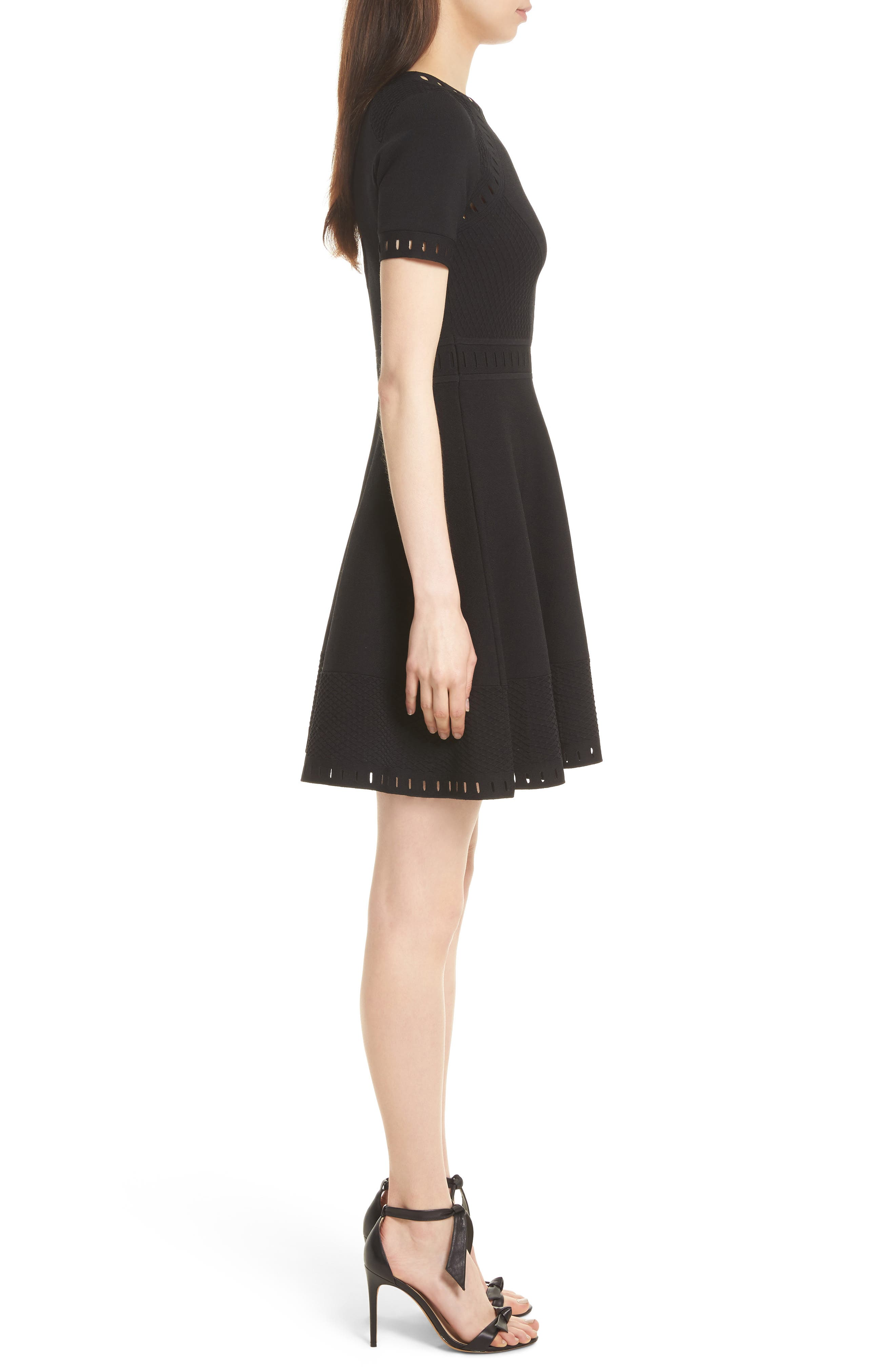 Texture Knit Fit & Flare Dress,                             Alternate thumbnail 3, color,                             Black