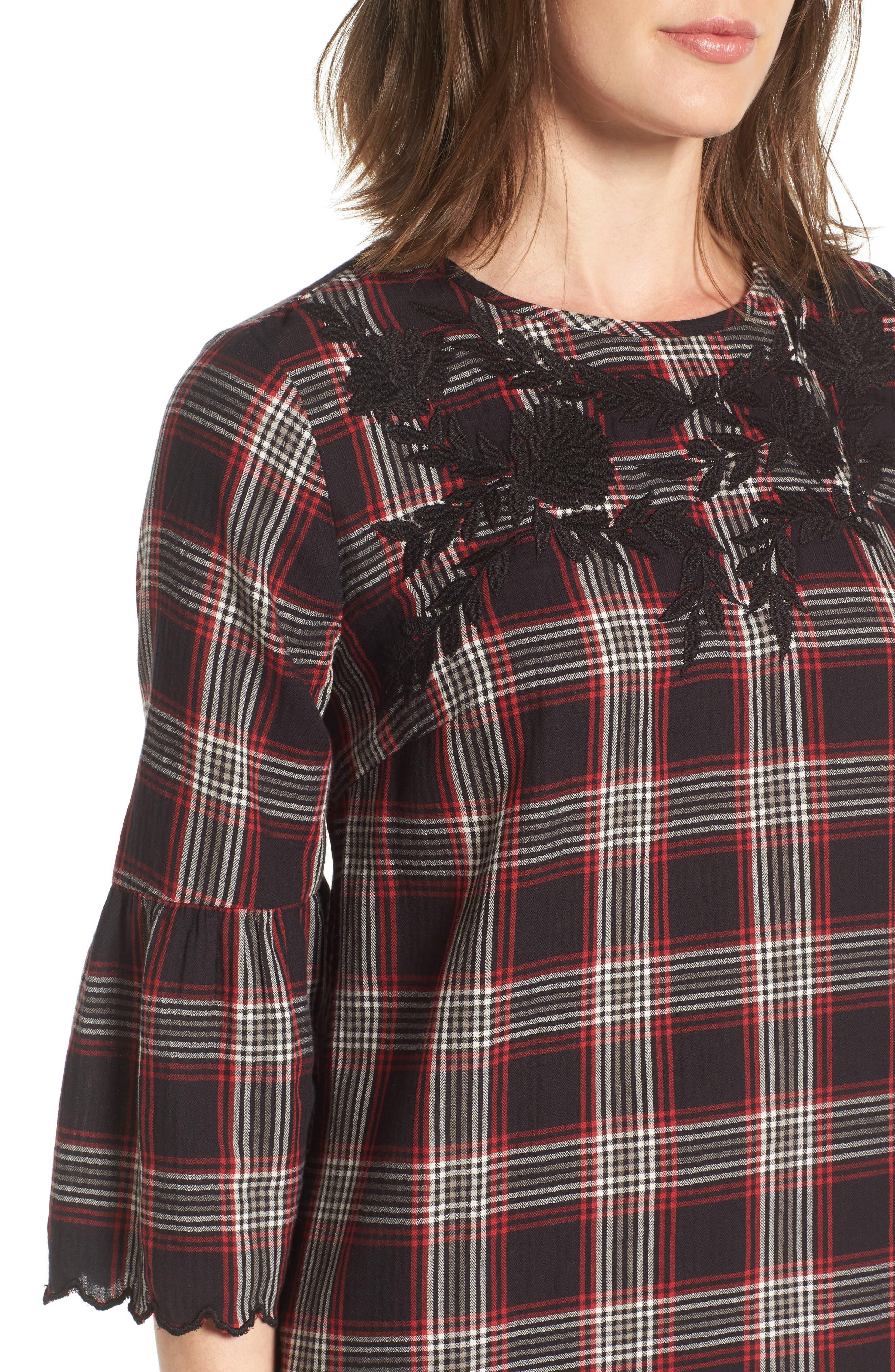 Alternate Image 4  - Caslon® Bell Sleeve Plaid Shift Dress