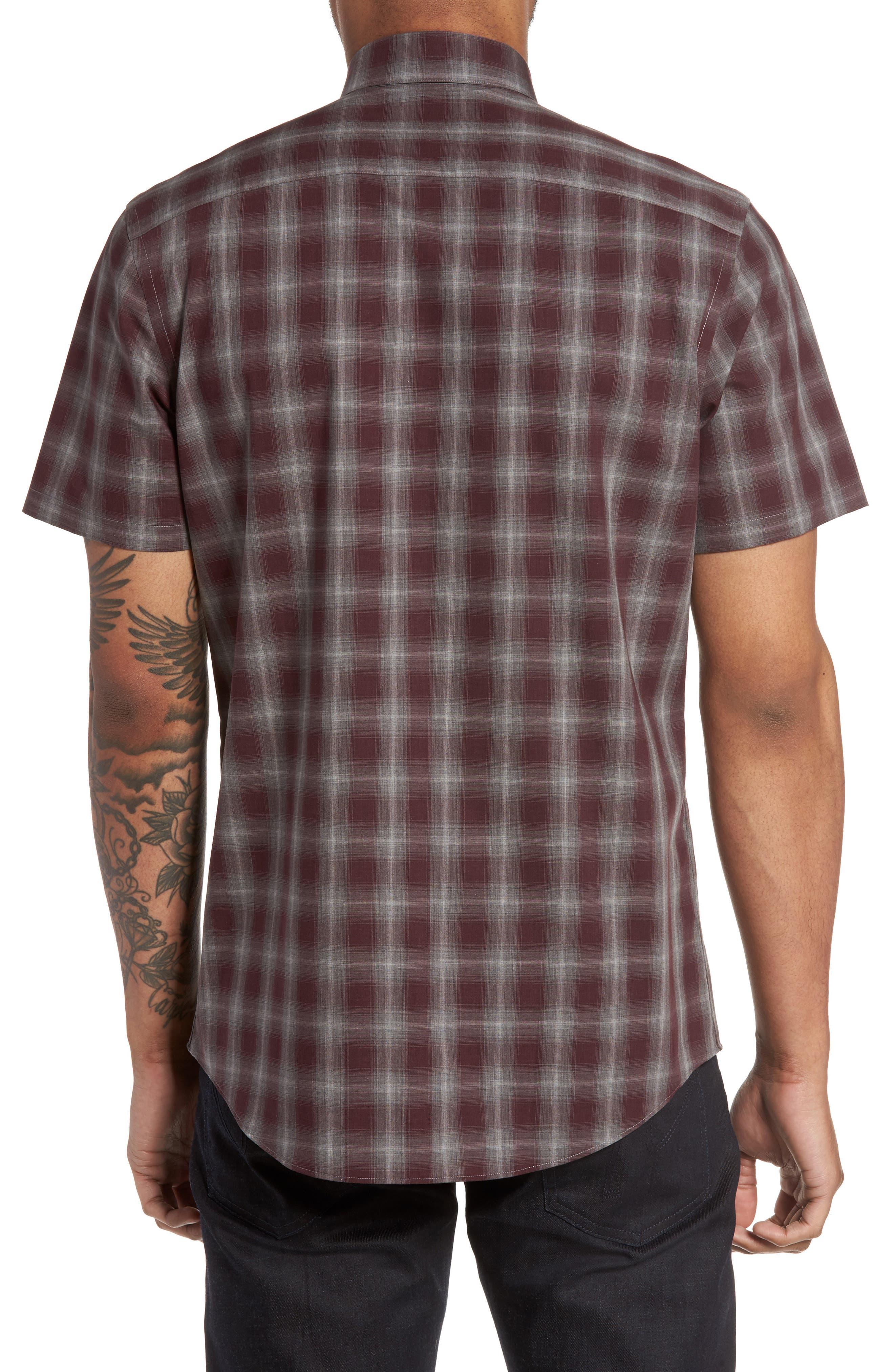 Plaid Non-Iron Sport Shirt,                             Alternate thumbnail 2, color,                             Burgundy Stem Gradient Check