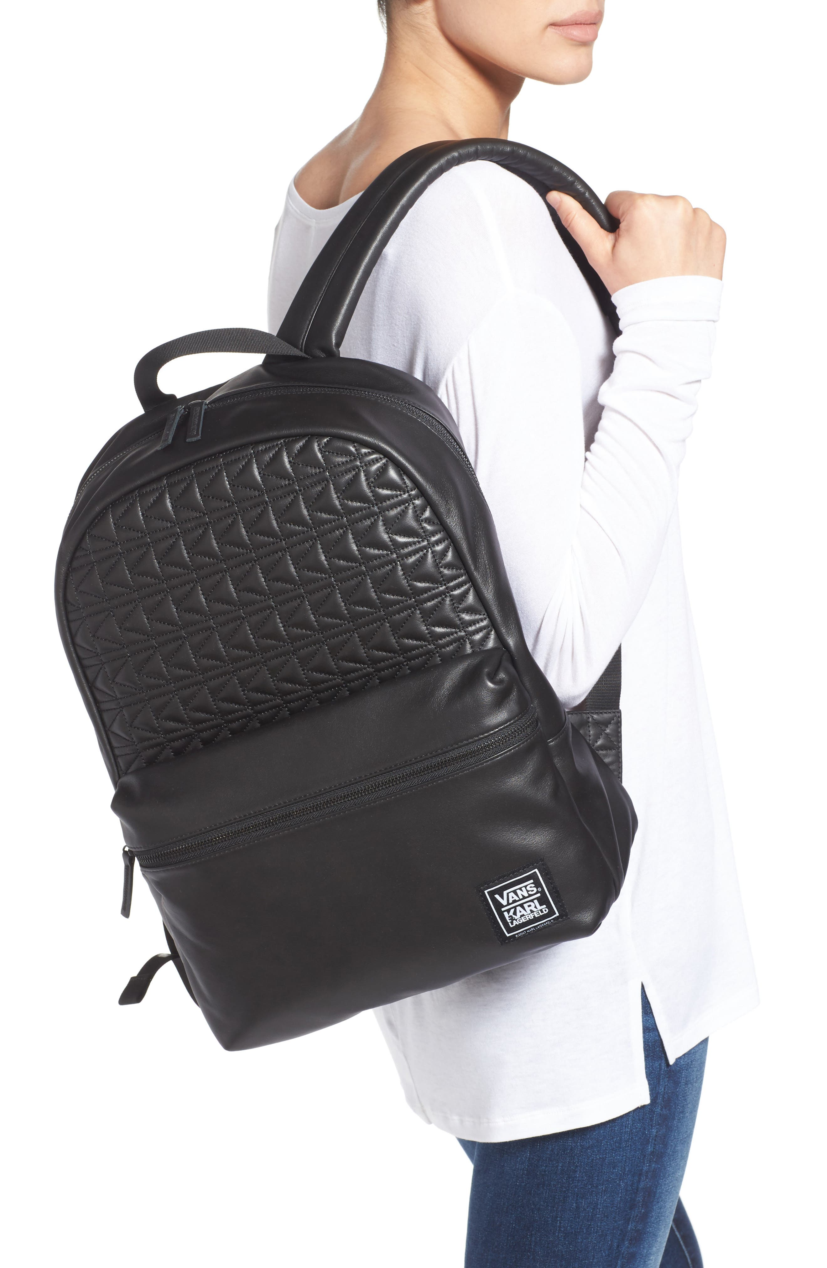 Alternate Image 2  - Vans x KARL LAGERFELD Quilted Leather Backpack