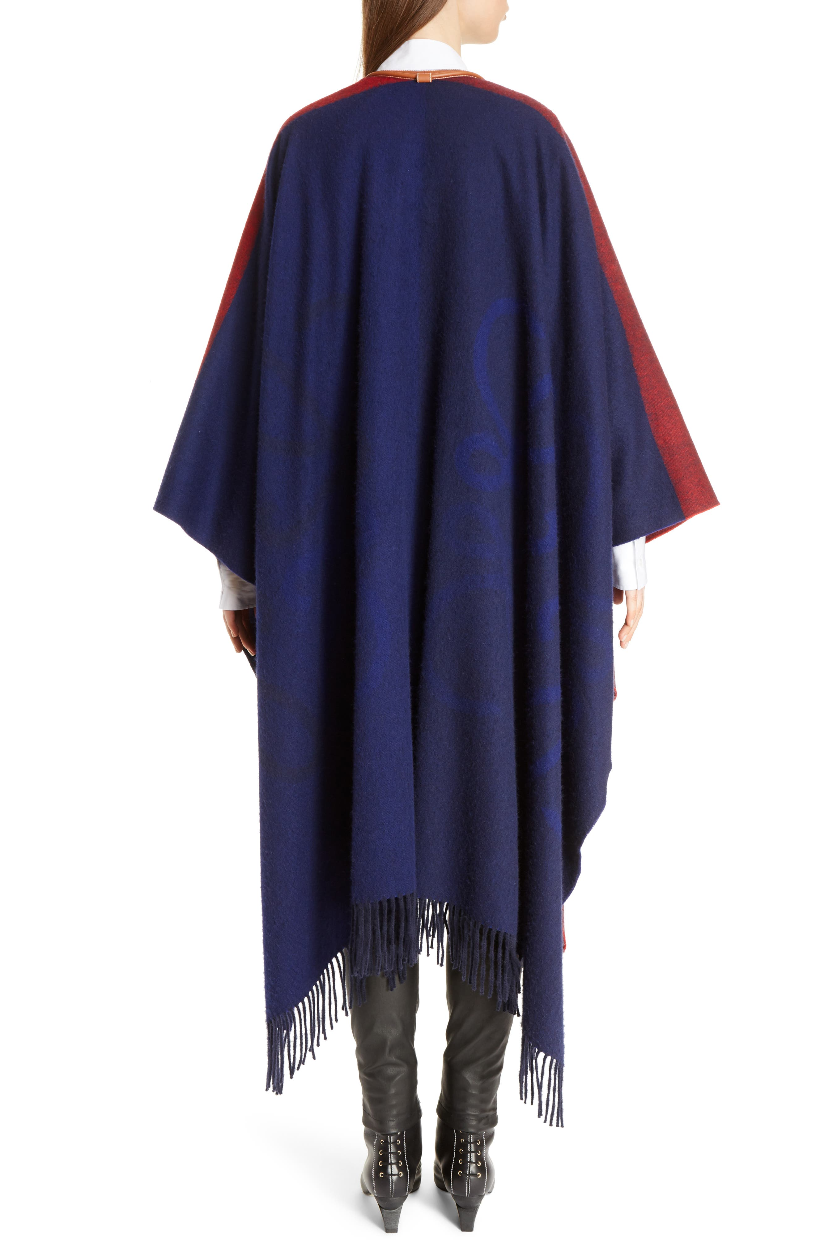 Logo Wool & Cashmere Blanket Cape,                             Alternate thumbnail 2, color,                             Red/ Navy