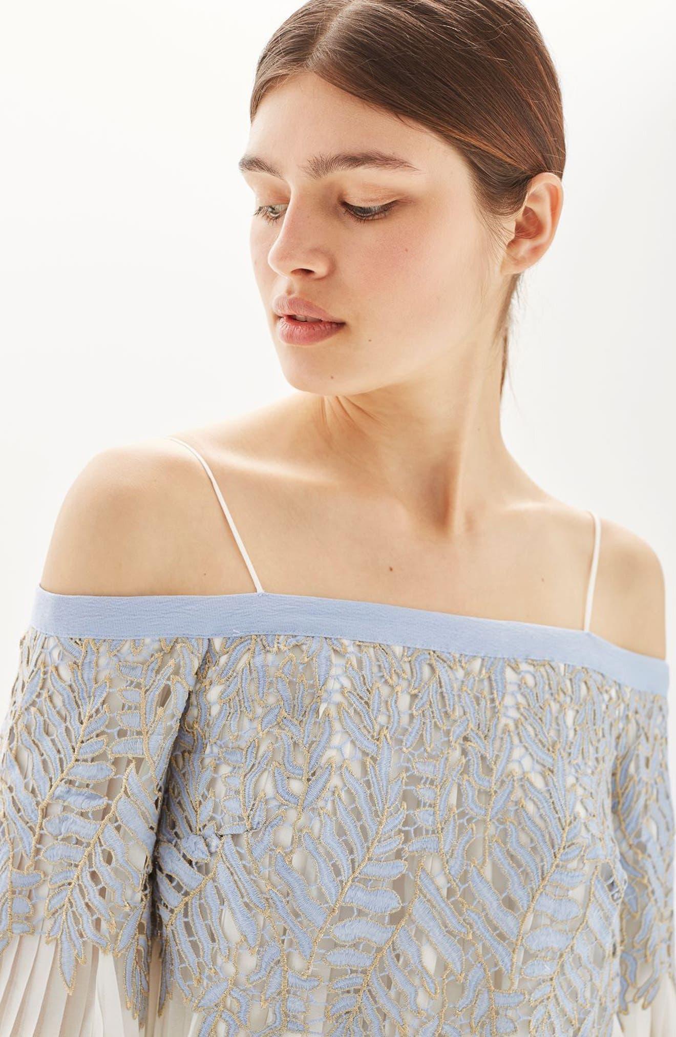 Alternate Image 5  - Topshop Bardot Leaf Pleat Minidress