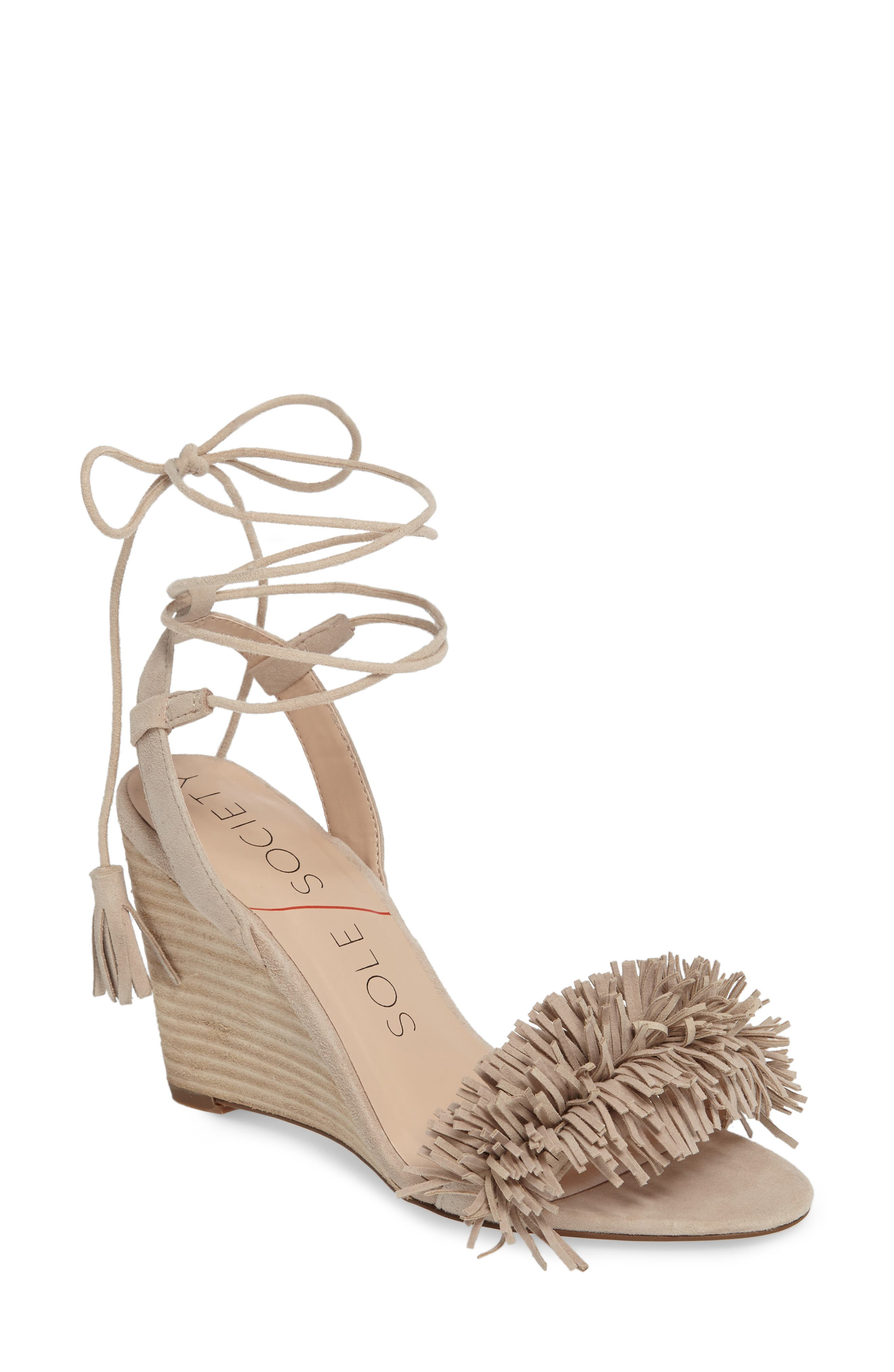 Rosea Ankle Wrap Sandal,                             Main thumbnail 1, color,                             French Taupe Suede