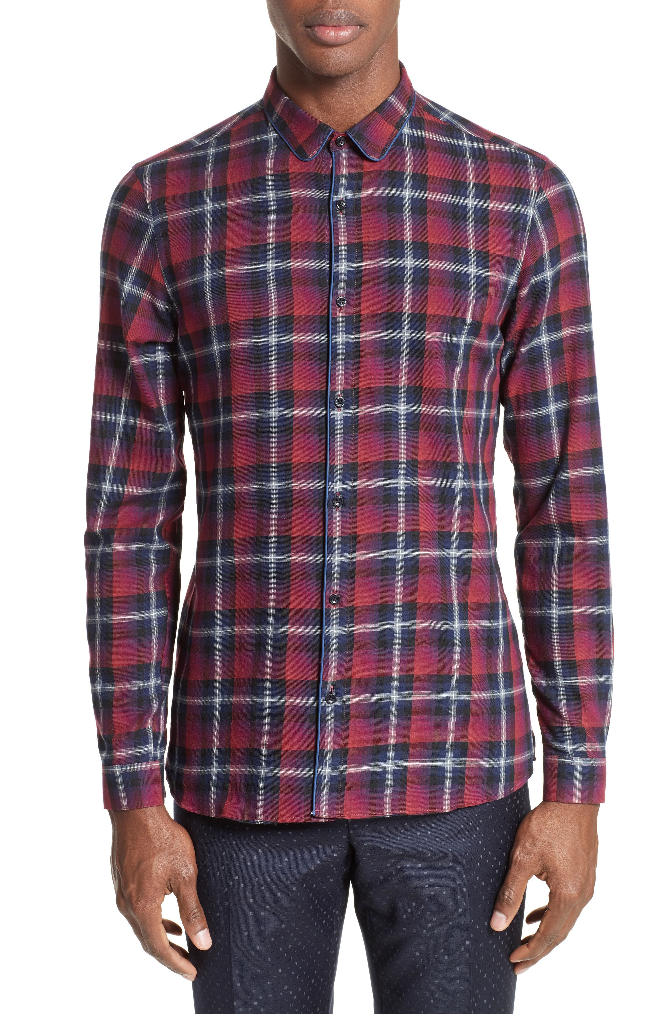 Contrast Piping Plaid Sport Shirt,                             Main thumbnail 1, color,                             Red
