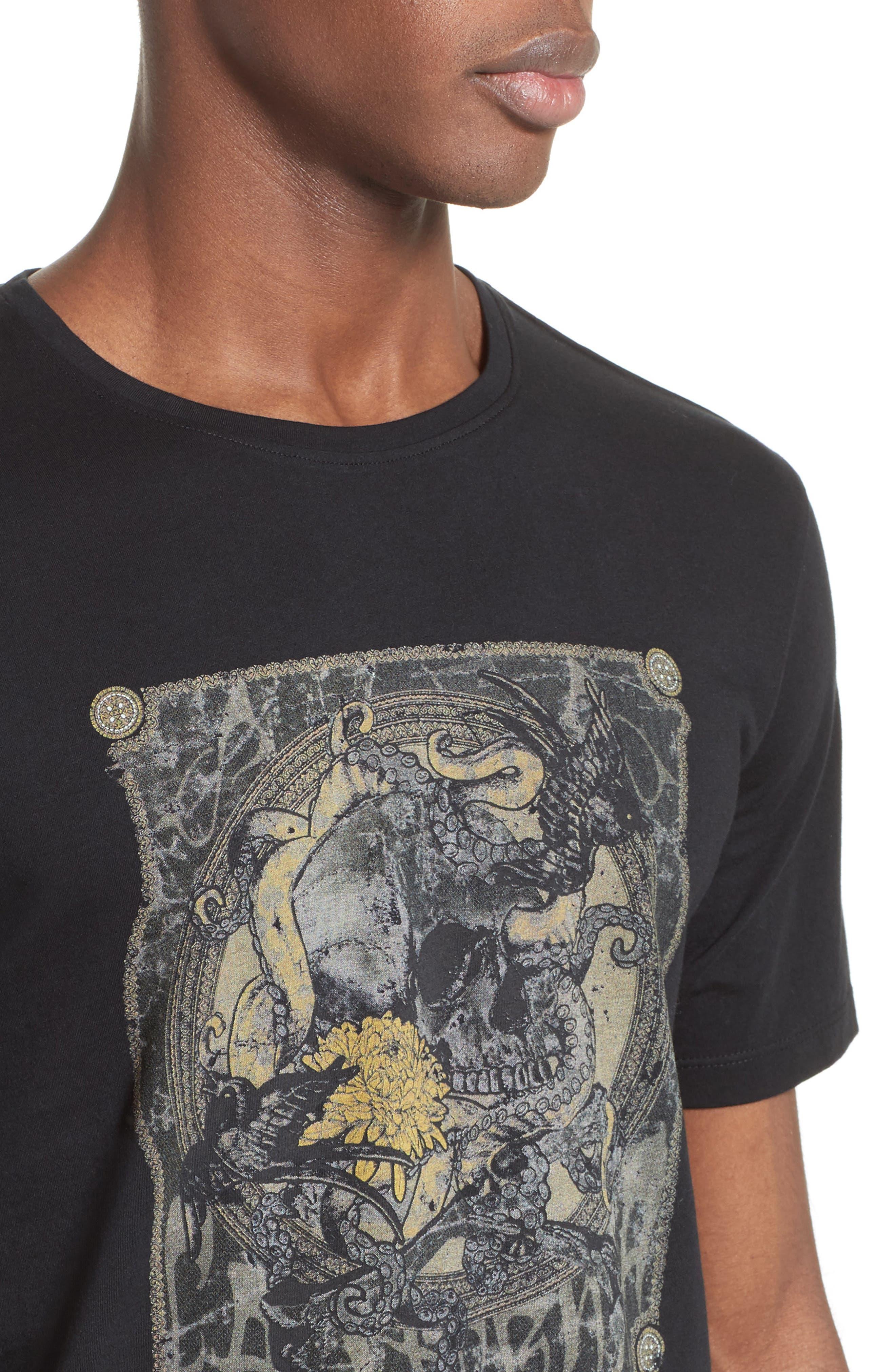 Silkscreen Finish T-Shirt,                             Alternate thumbnail 4, color,                             Black