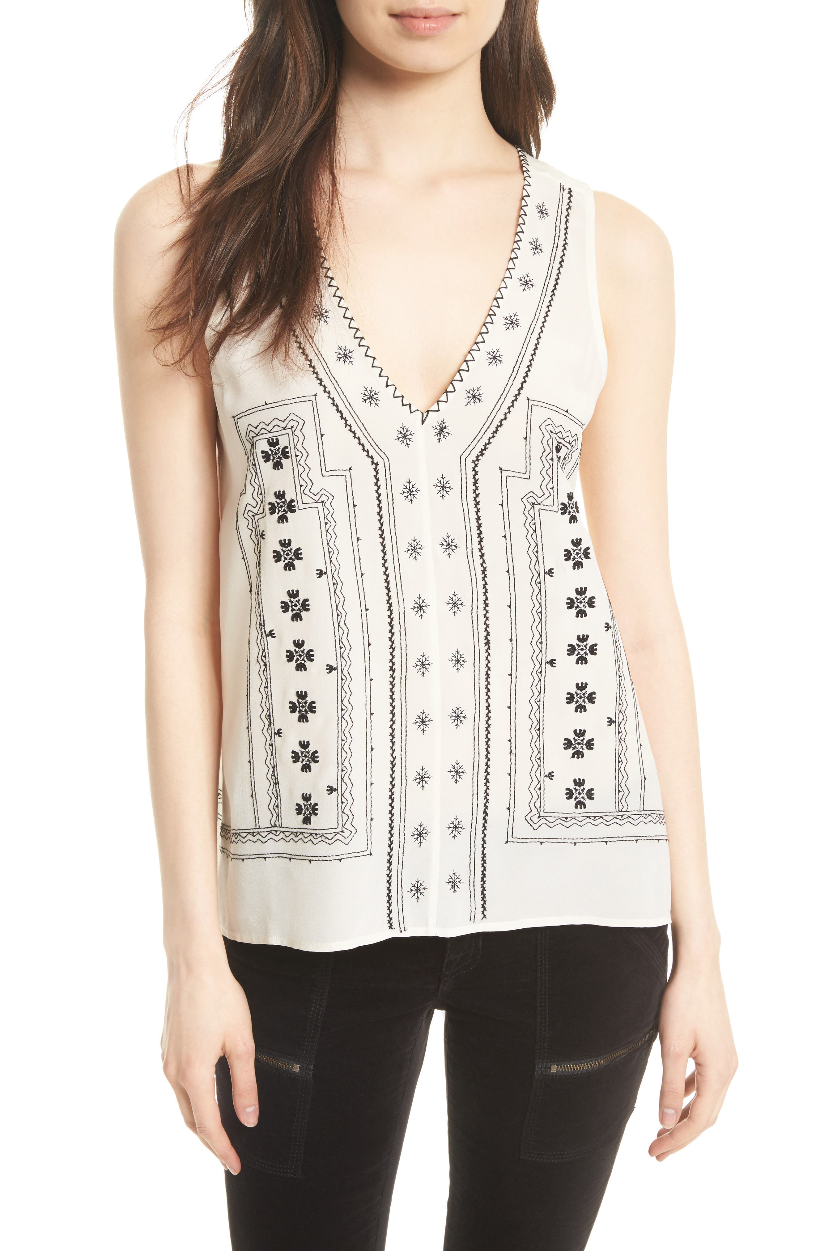 Merles Embroidered Silk Top,                         Main,                         color, Porcelain/ Caviar