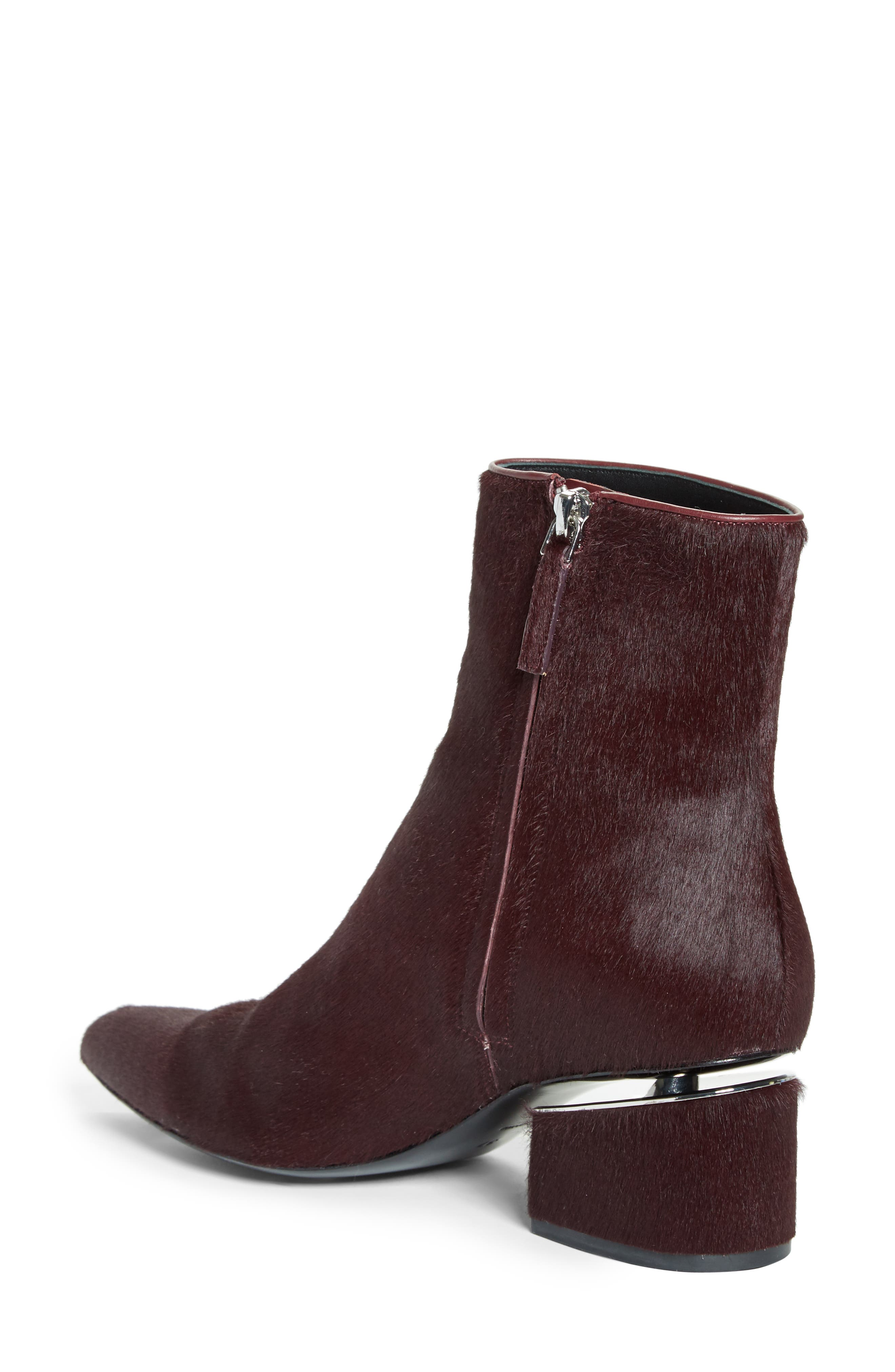 Jude Genuine Calf Hair Bootie,                             Alternate thumbnail 2, color,                             Burgundy Leather