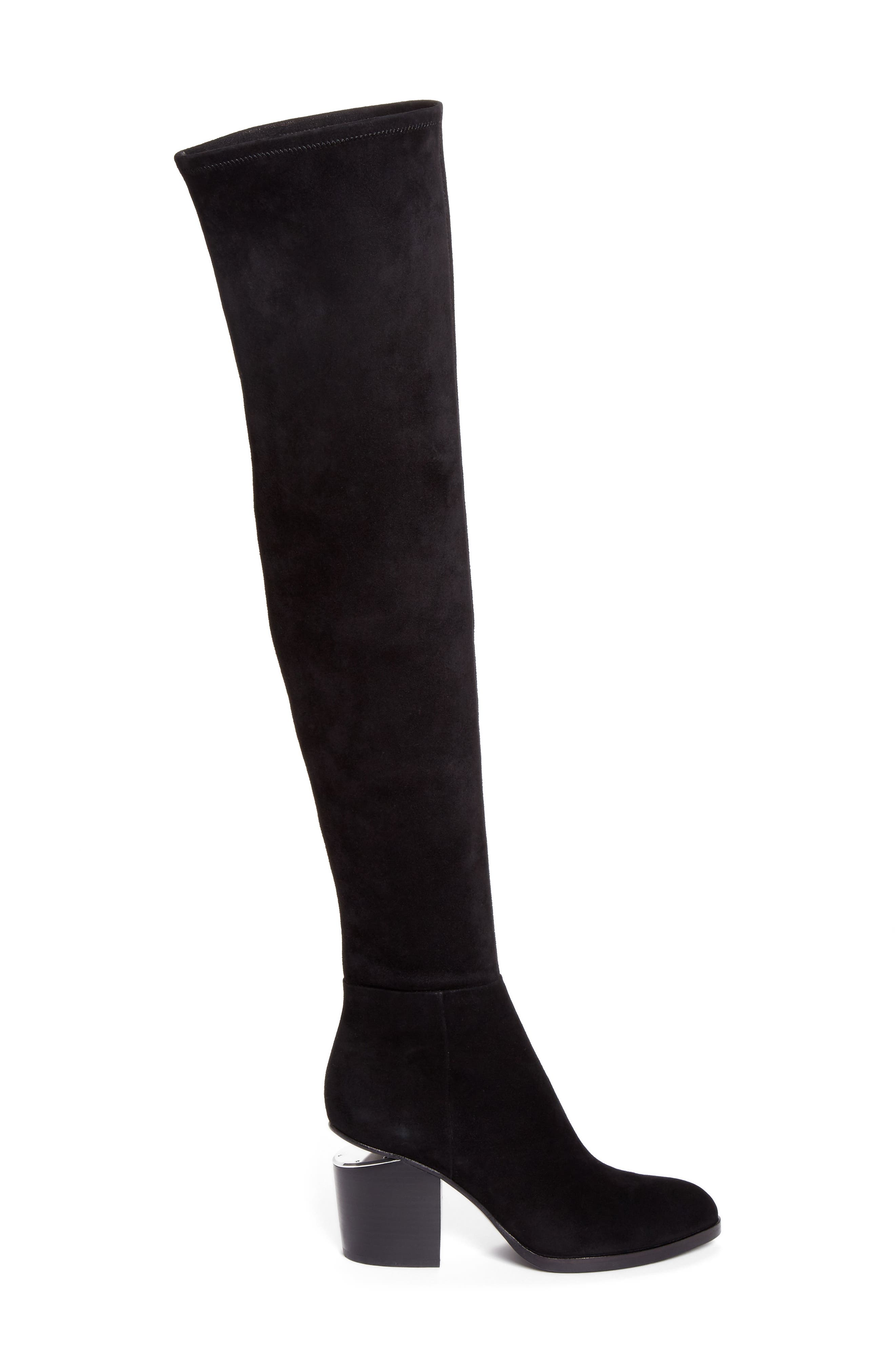 Gabi Over the Knee Boot,                             Alternate thumbnail 3, color,                             Black Suede