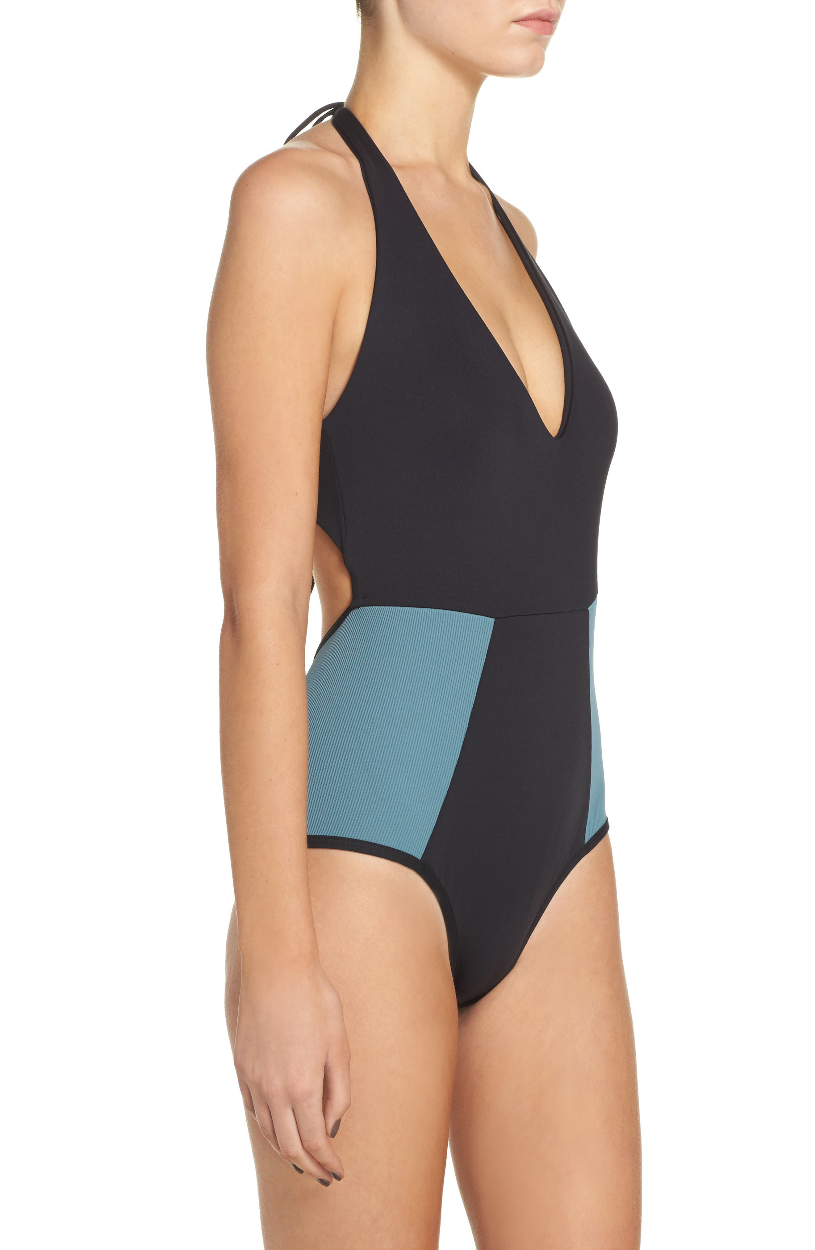 Fireside One-Piece Swimsuit,                             Alternate thumbnail 3, color,                             Black