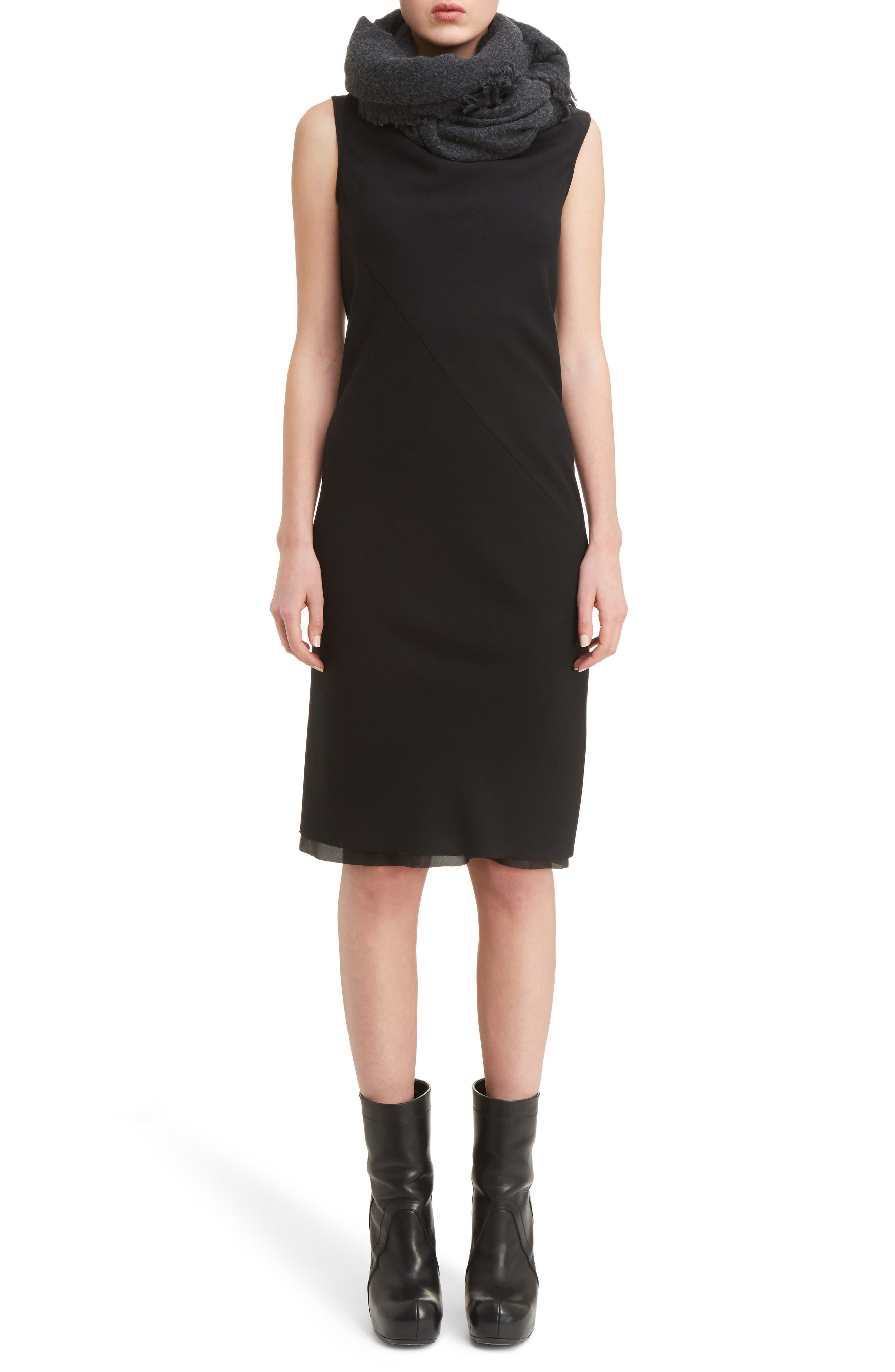Drape Neck Dress,                             Alternate thumbnail 6, color,                             Black