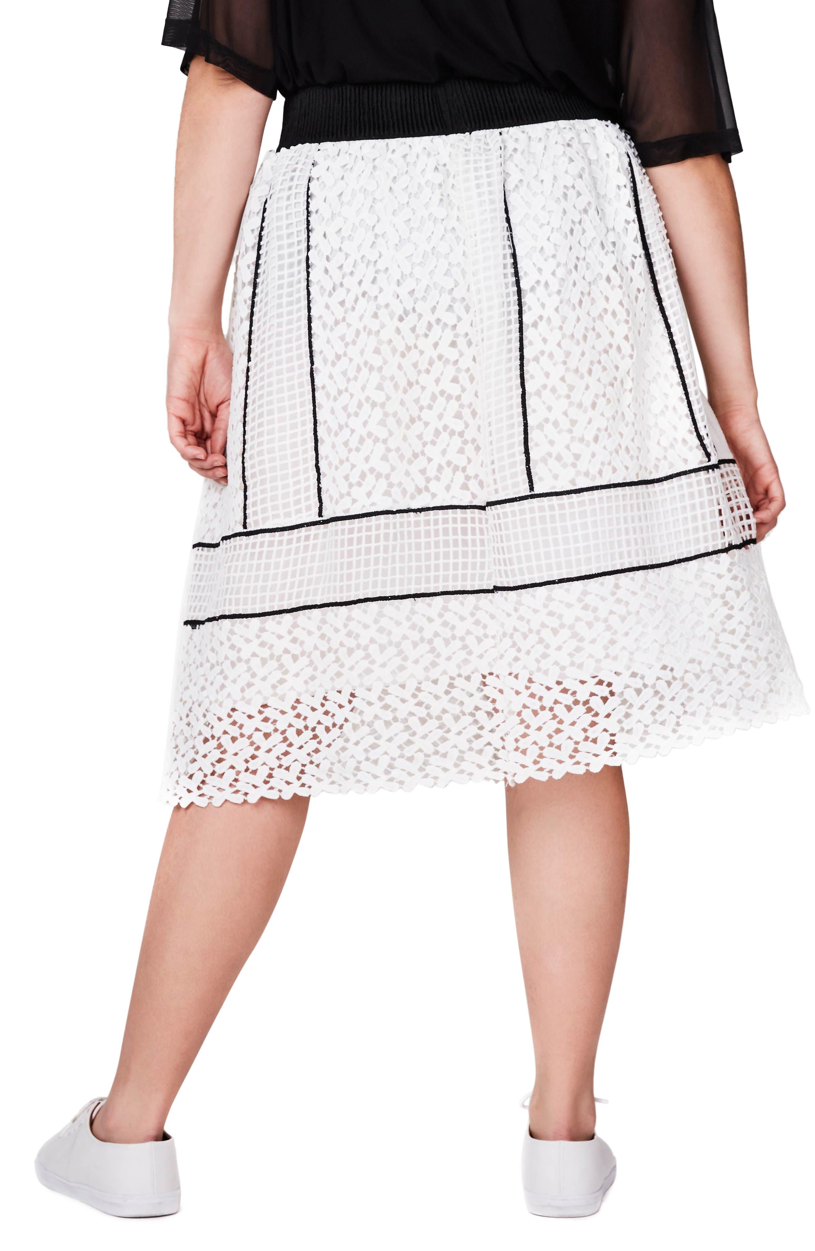 Mixed Lace Skirt,                             Alternate thumbnail 2, color,                             Mono
