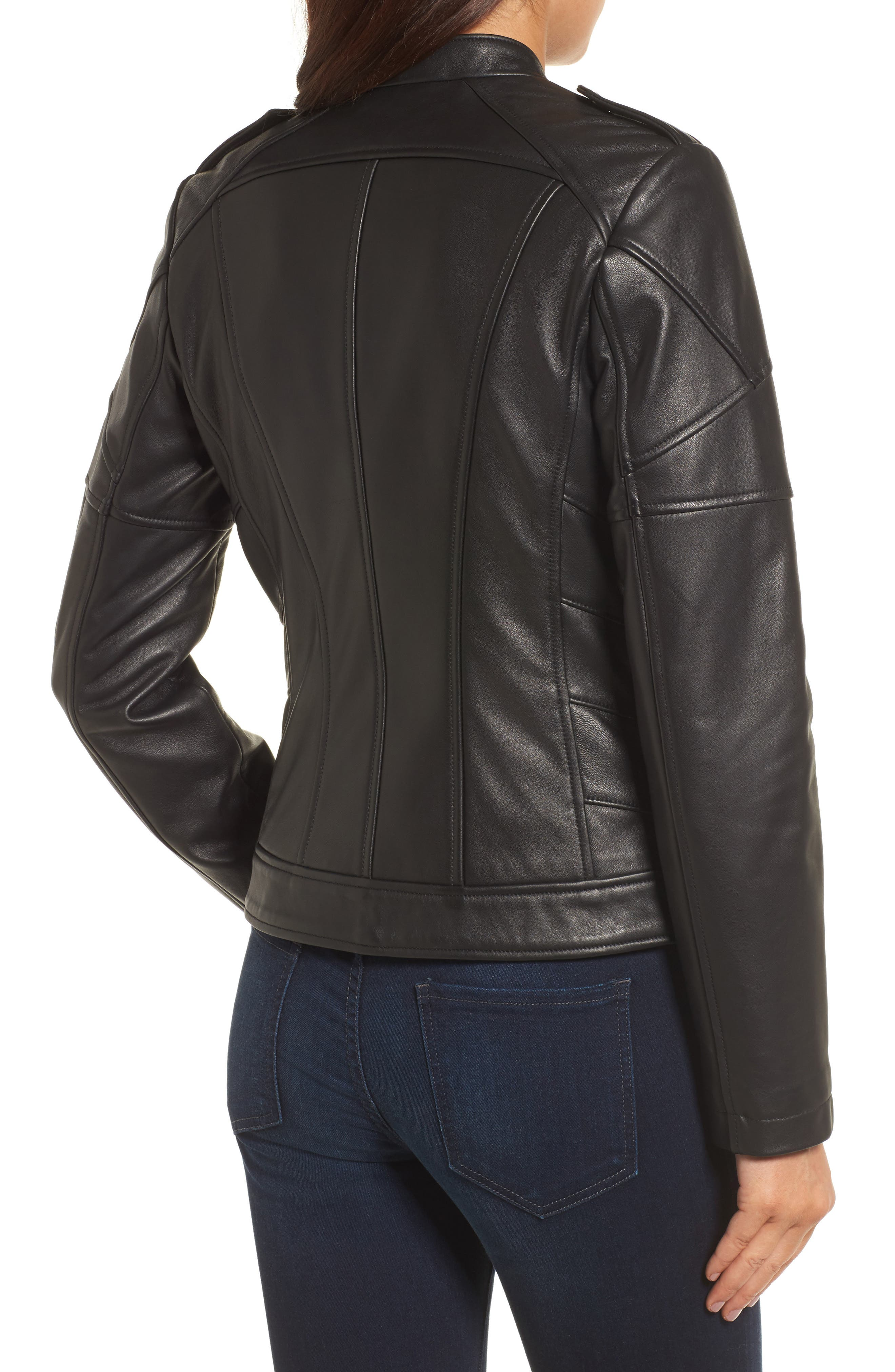 Alternate Image 2  - Catherine Catherine Malandrino Chevron Seam Leather Jacket