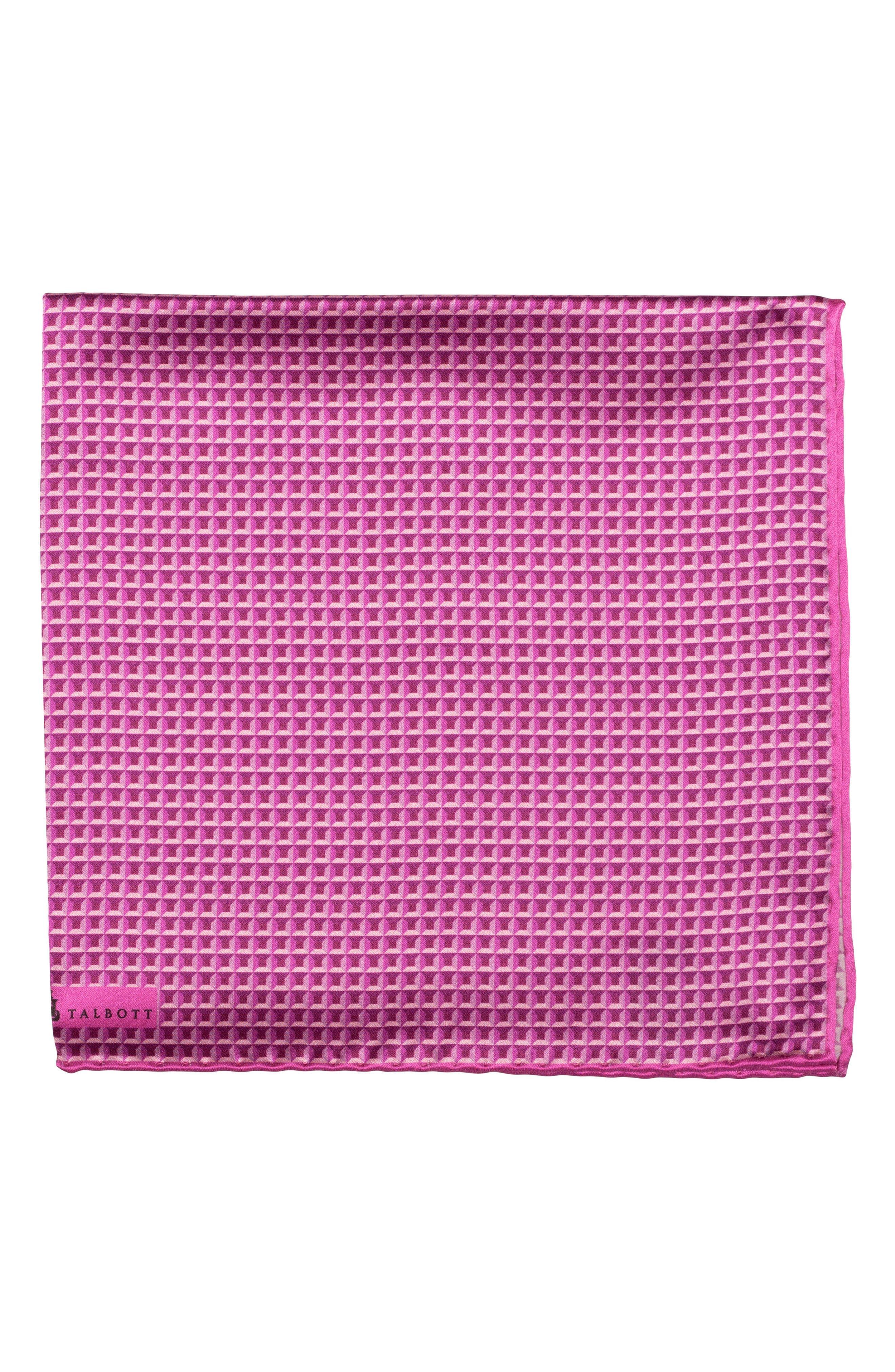 Geometric Silk Pocket Square,                         Main,                         color, Pink