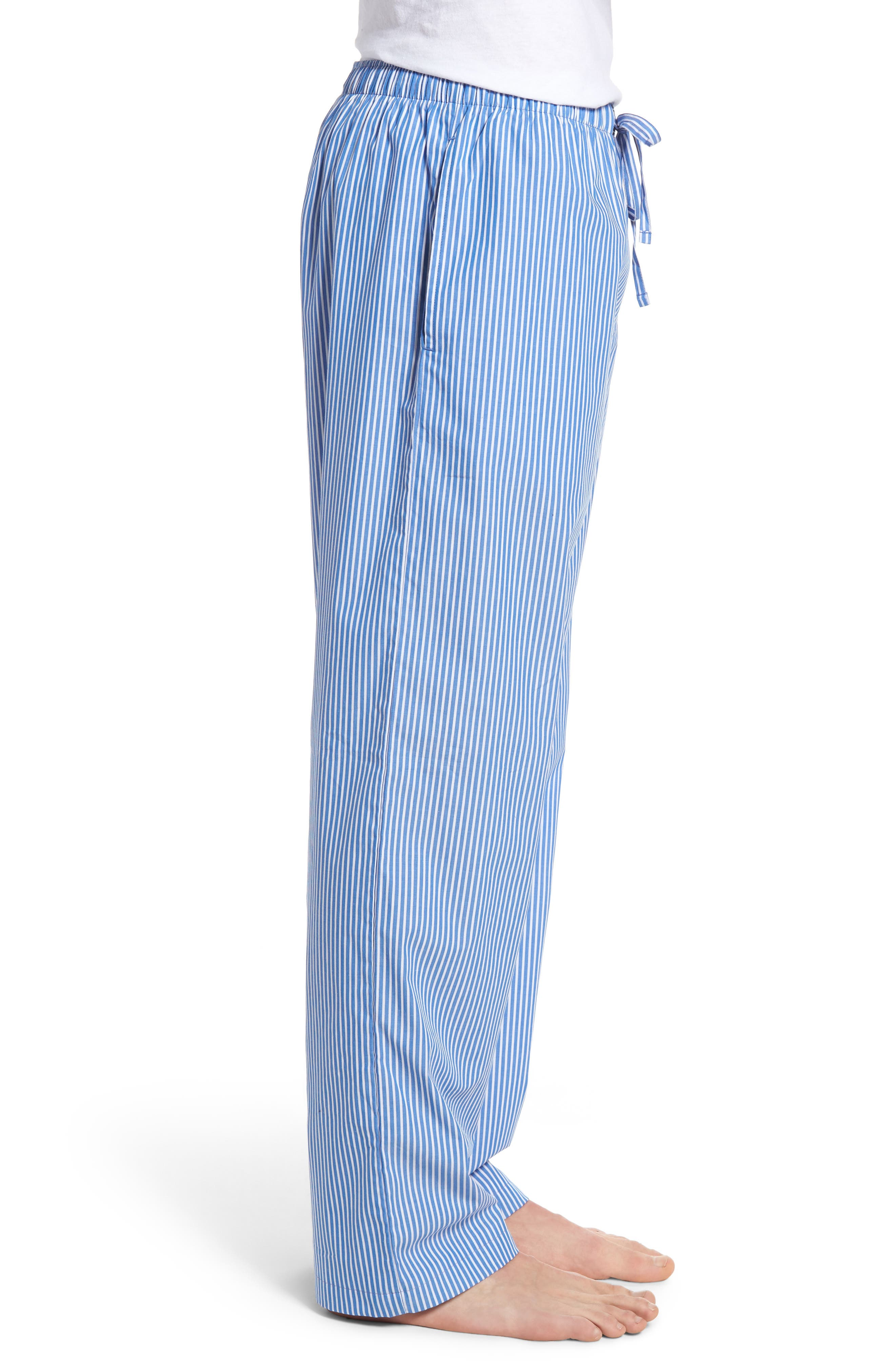 Cotton Lounge Pants,                             Alternate thumbnail 3, color,                             King Blue Stripe