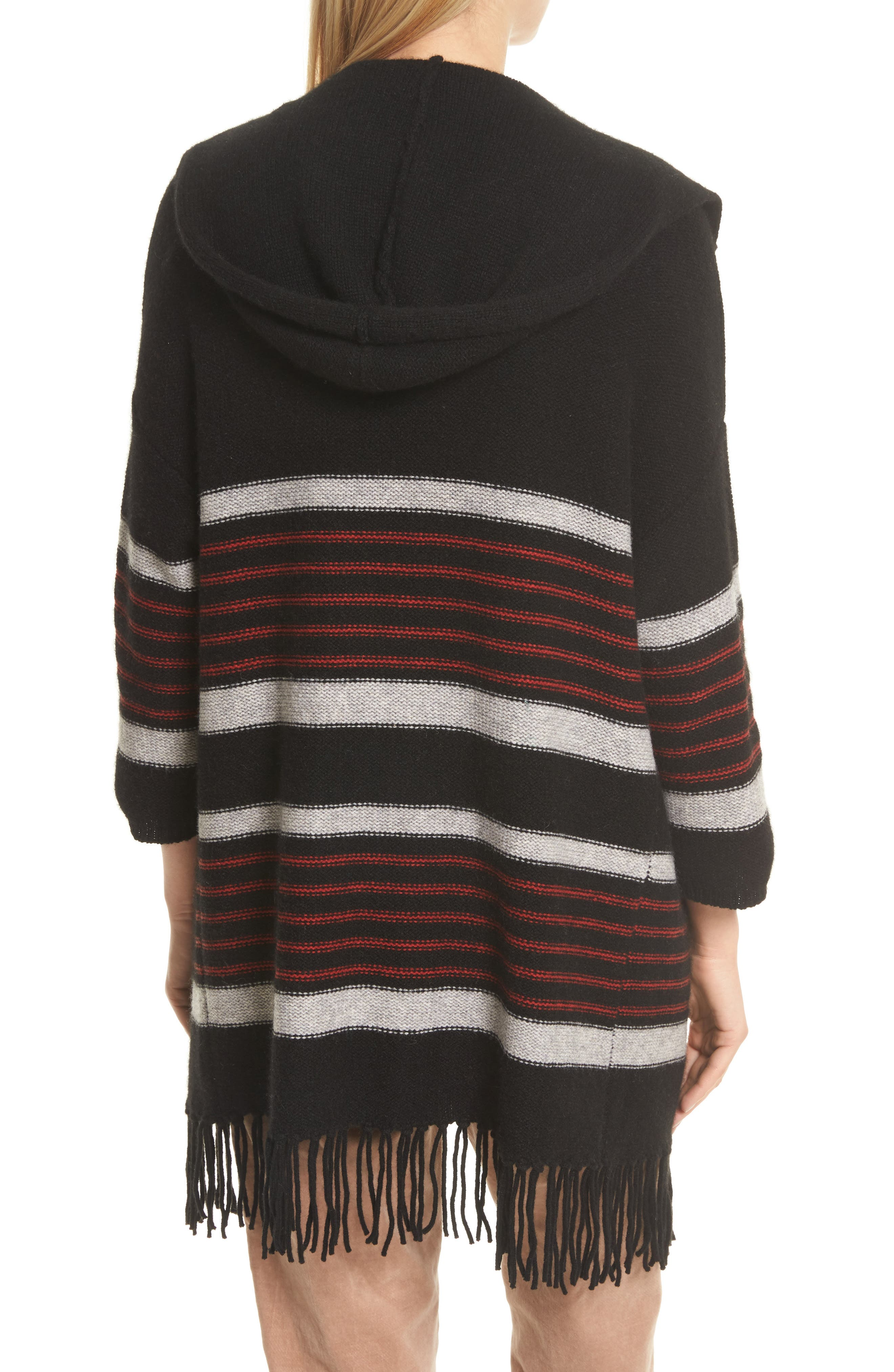 Gabrina Stripe Open Front Hoodie,                             Alternate thumbnail 2, color,                             Caviar / Grey / Tandoori Red
