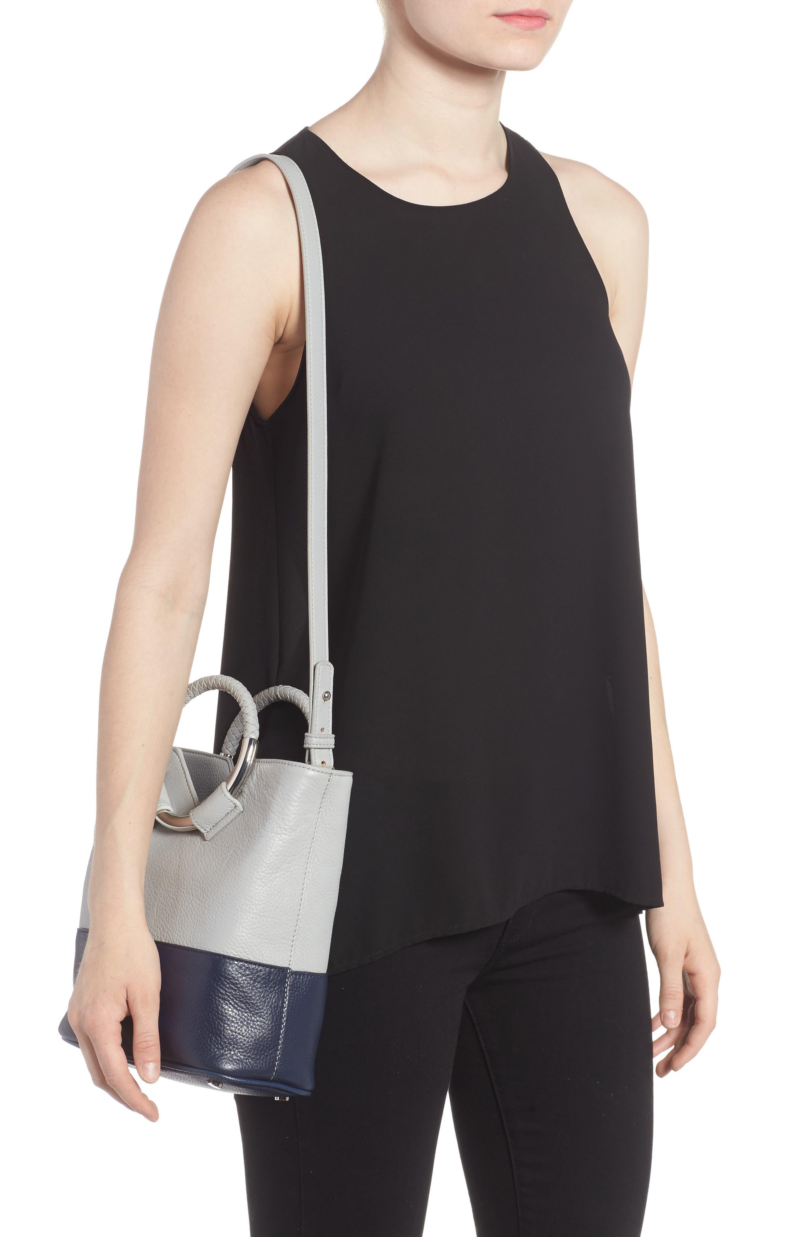 Small Elina Leather Crossbody Bag,                             Alternate thumbnail 2, color,                             Denim/ Ink Navy