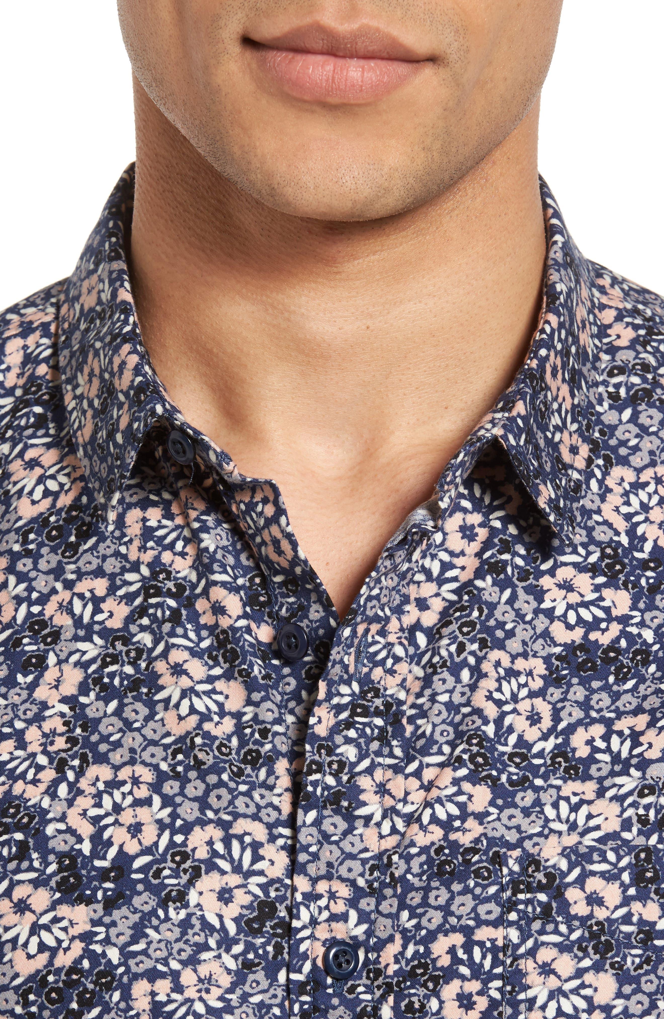 Poplin Floral Shirt,                             Alternate thumbnail 4, color,                             Navy Peacoat Simple Floral