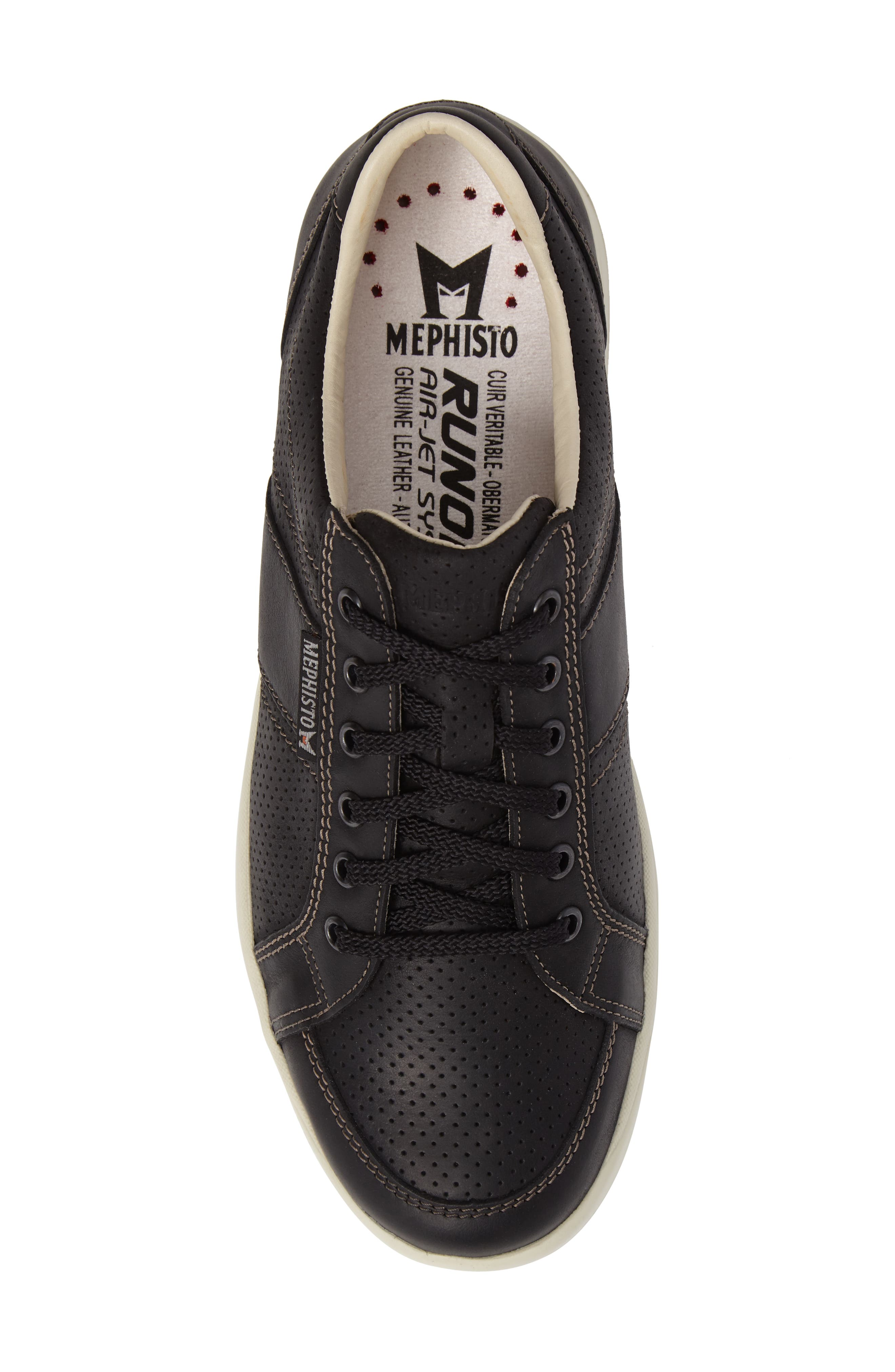 'Hero' Perforated Sneaker,                             Alternate thumbnail 5, color,                             Black Nubuck Leather