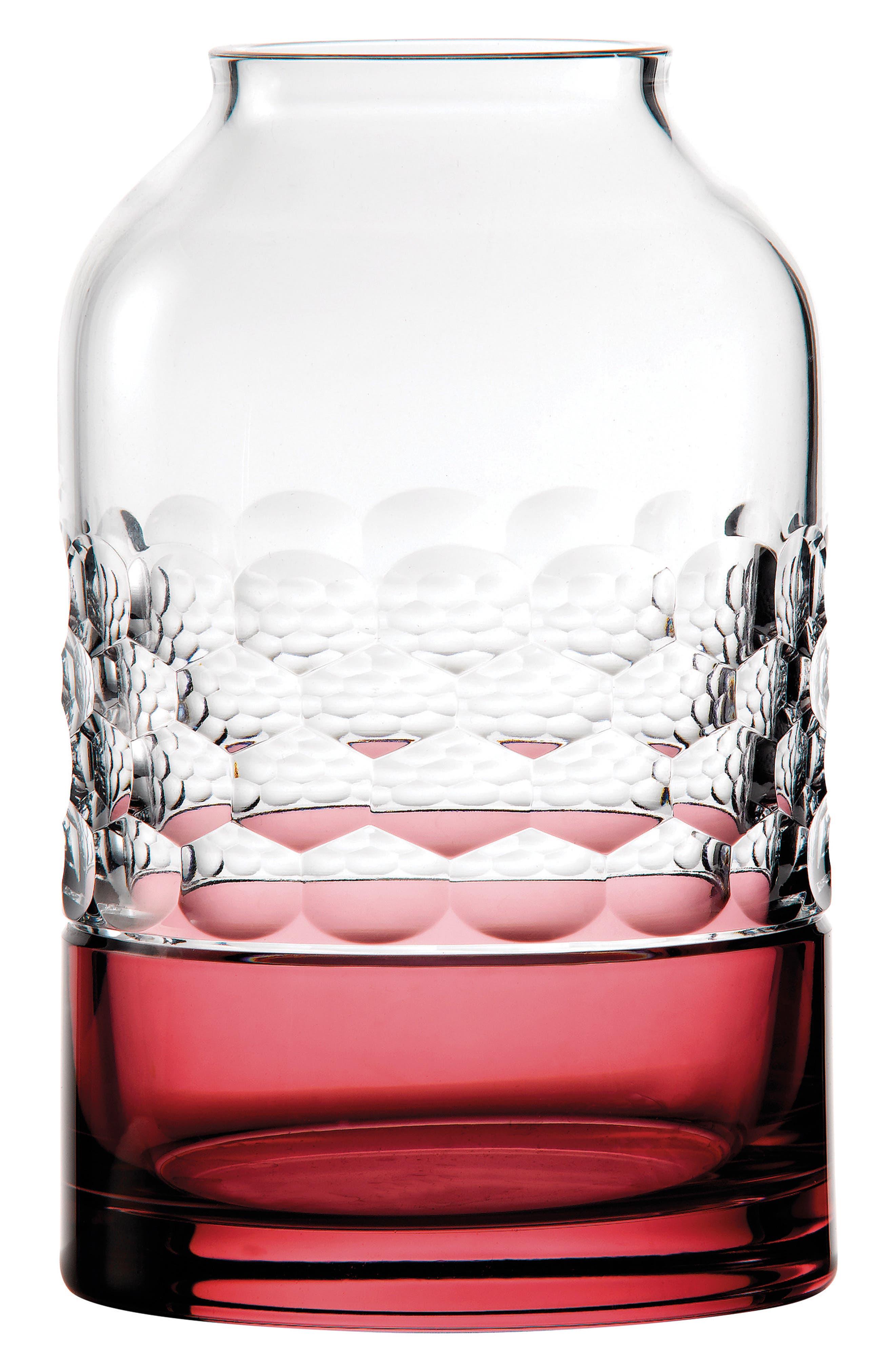 Jo Sampson Half & Half Rose Lead Crystal Vase,                         Main,                         color, Crystal