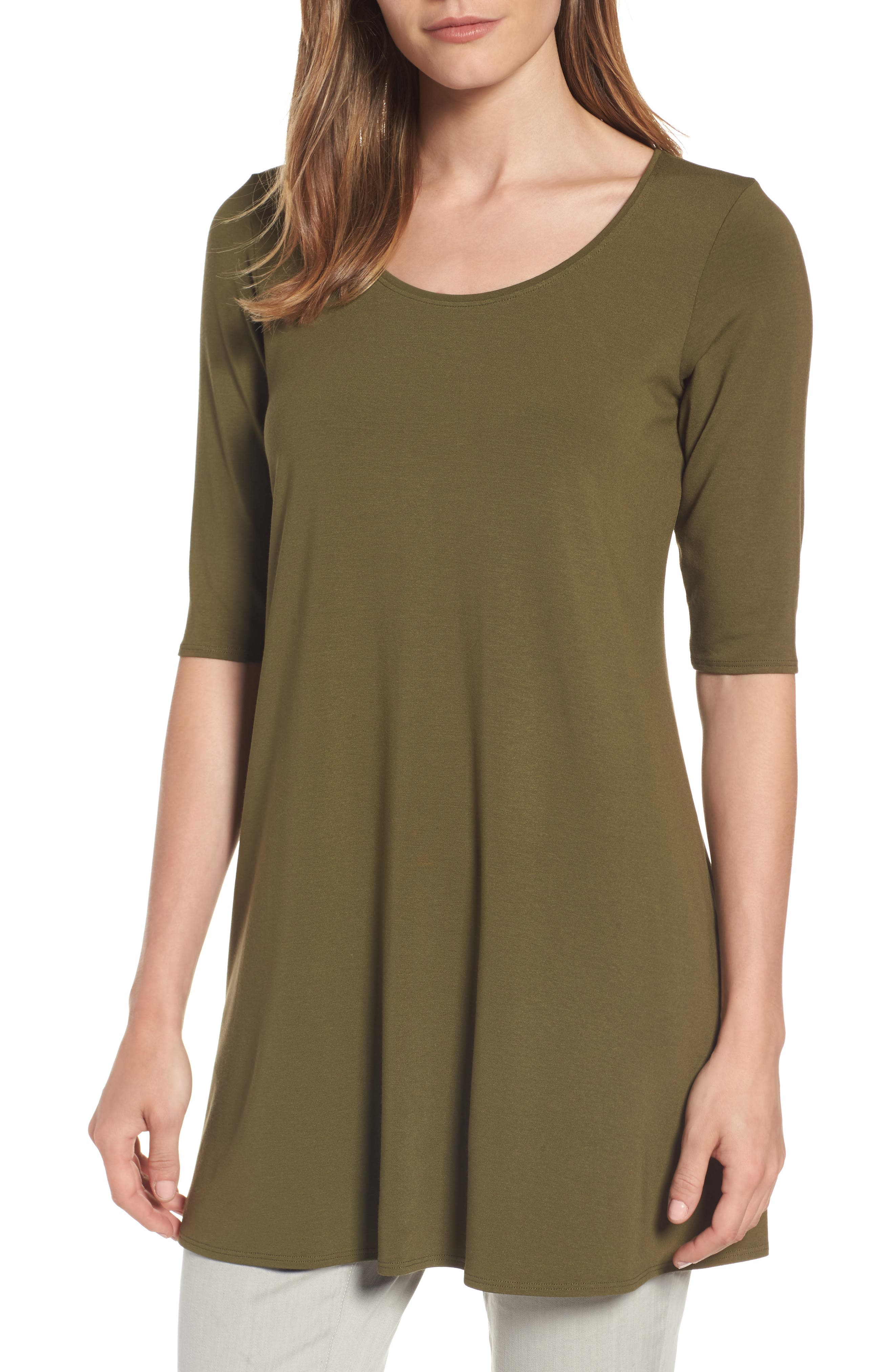 Main Image - Eileen Fisher Scoop Neck Elbow Sleeve Jersey Tunic (Regular & Petite) (Online Only)