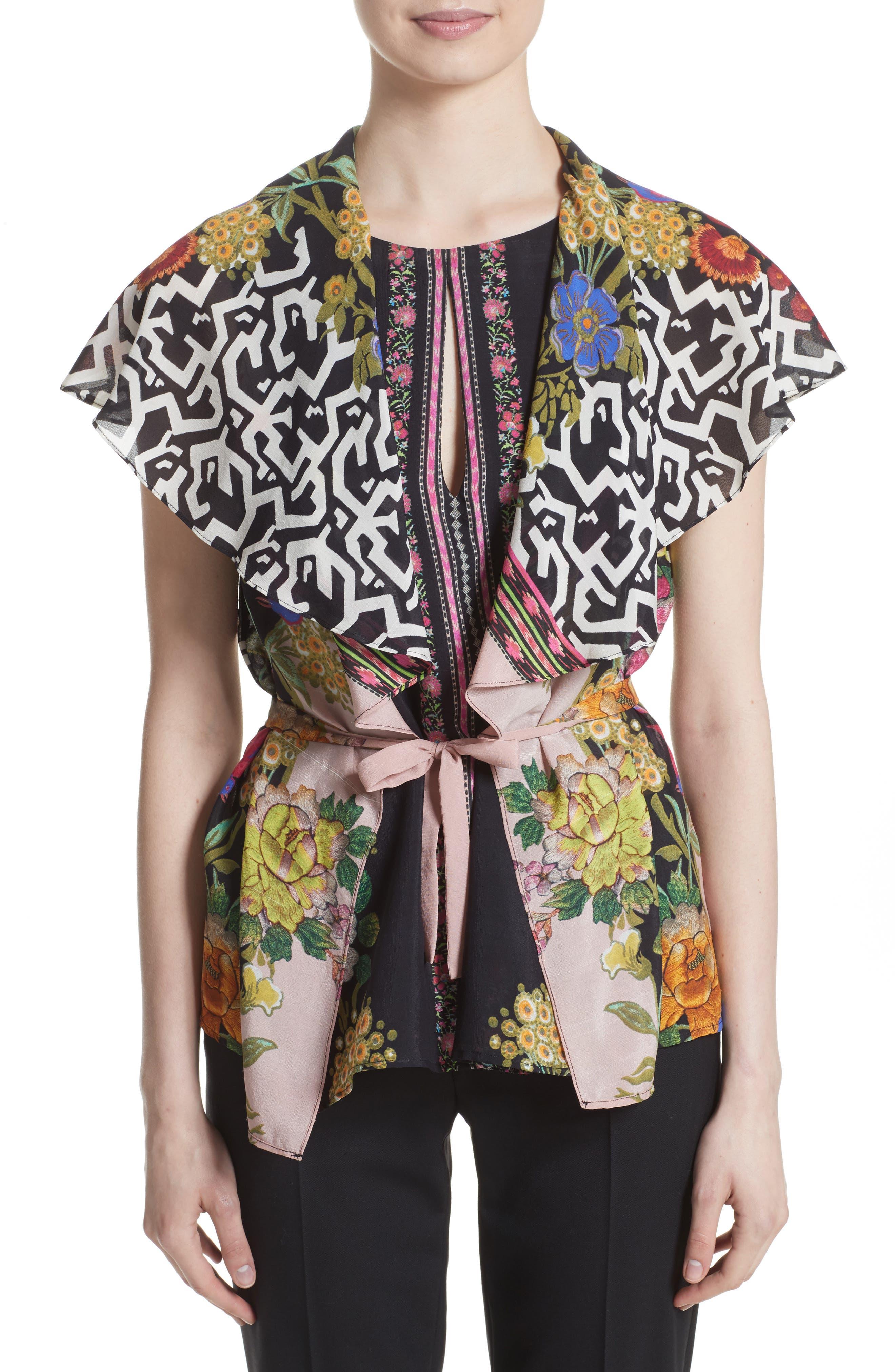 Floral & Maze Print Silk Blouse,                             Alternate thumbnail 6, color,                             Pink