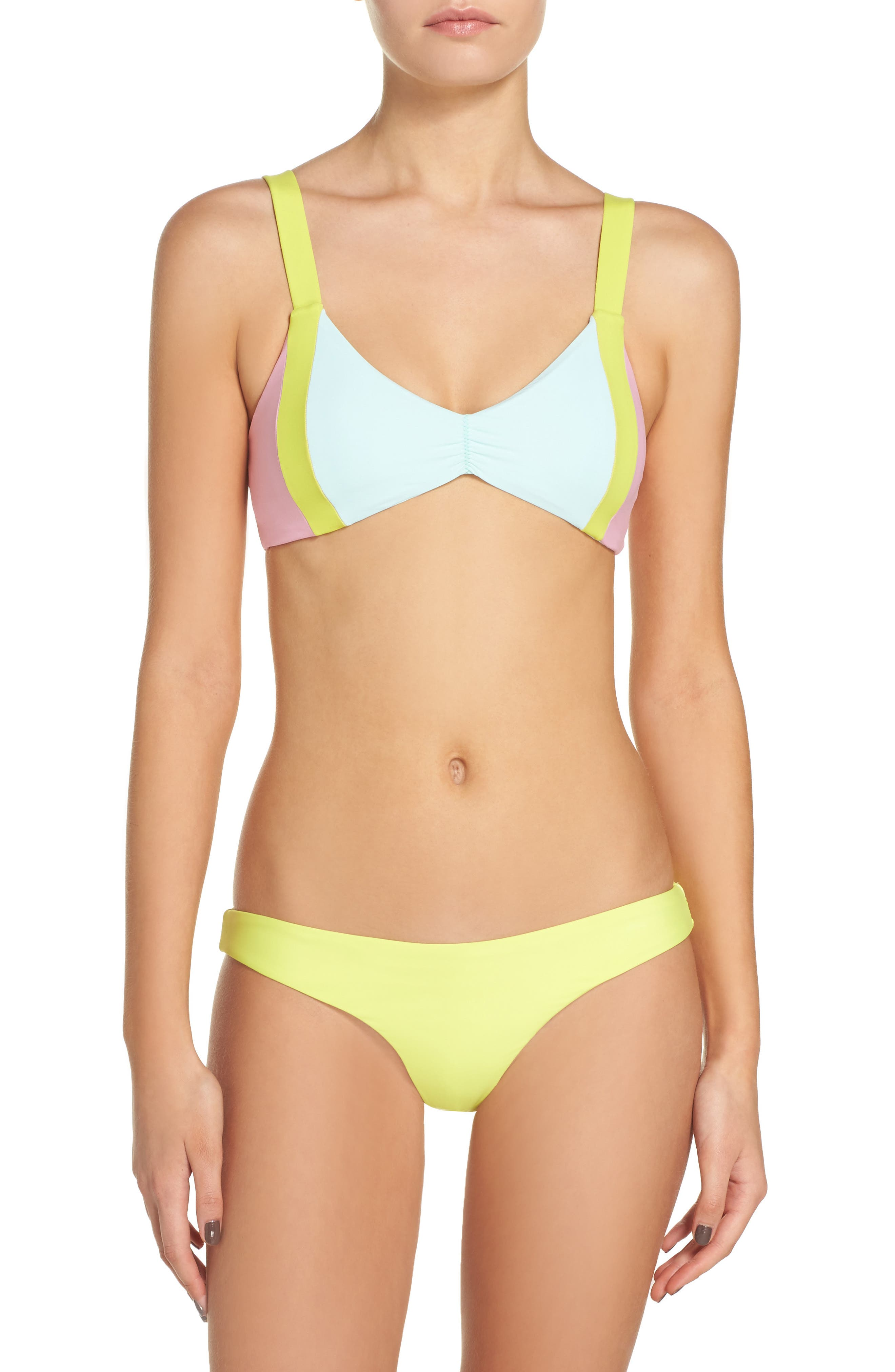 Sporty Utopia Bikini Top,                             Alternate thumbnail 6, color,                             Blue/ Green