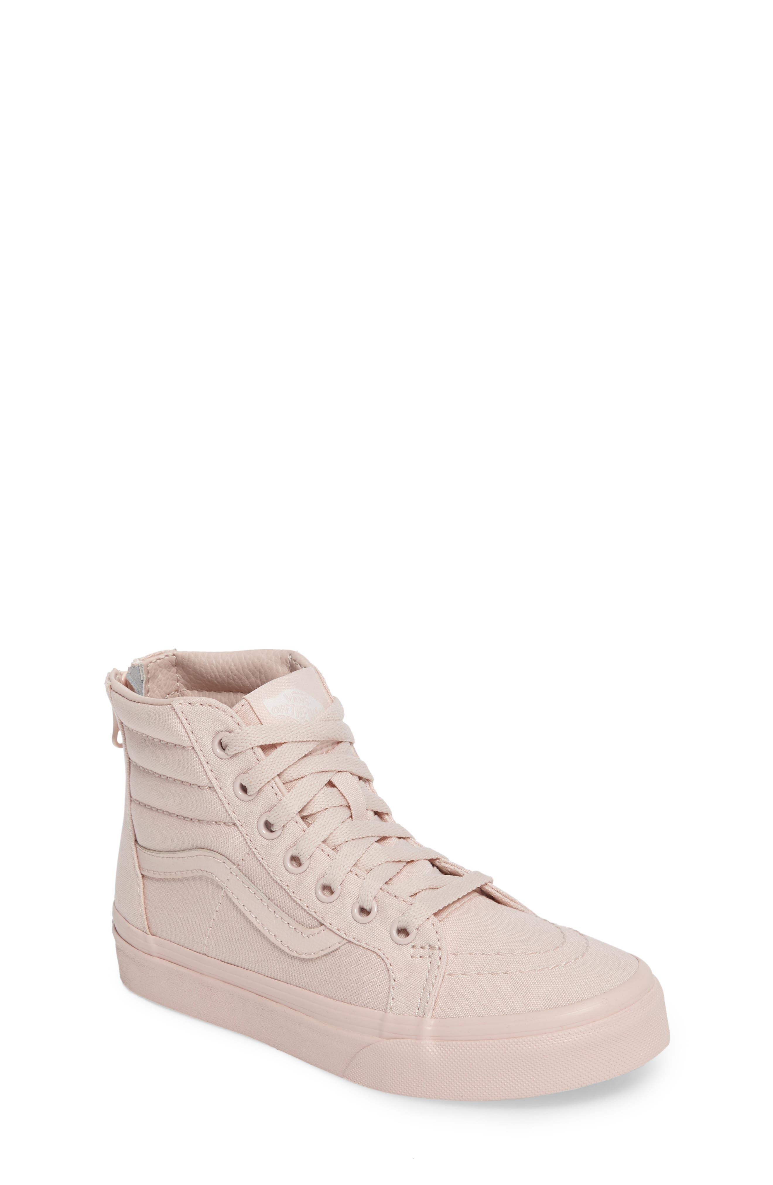 SK8-Hi Zip Sneaker,                             Main thumbnail 1, color,                             Peach Blush Canvas