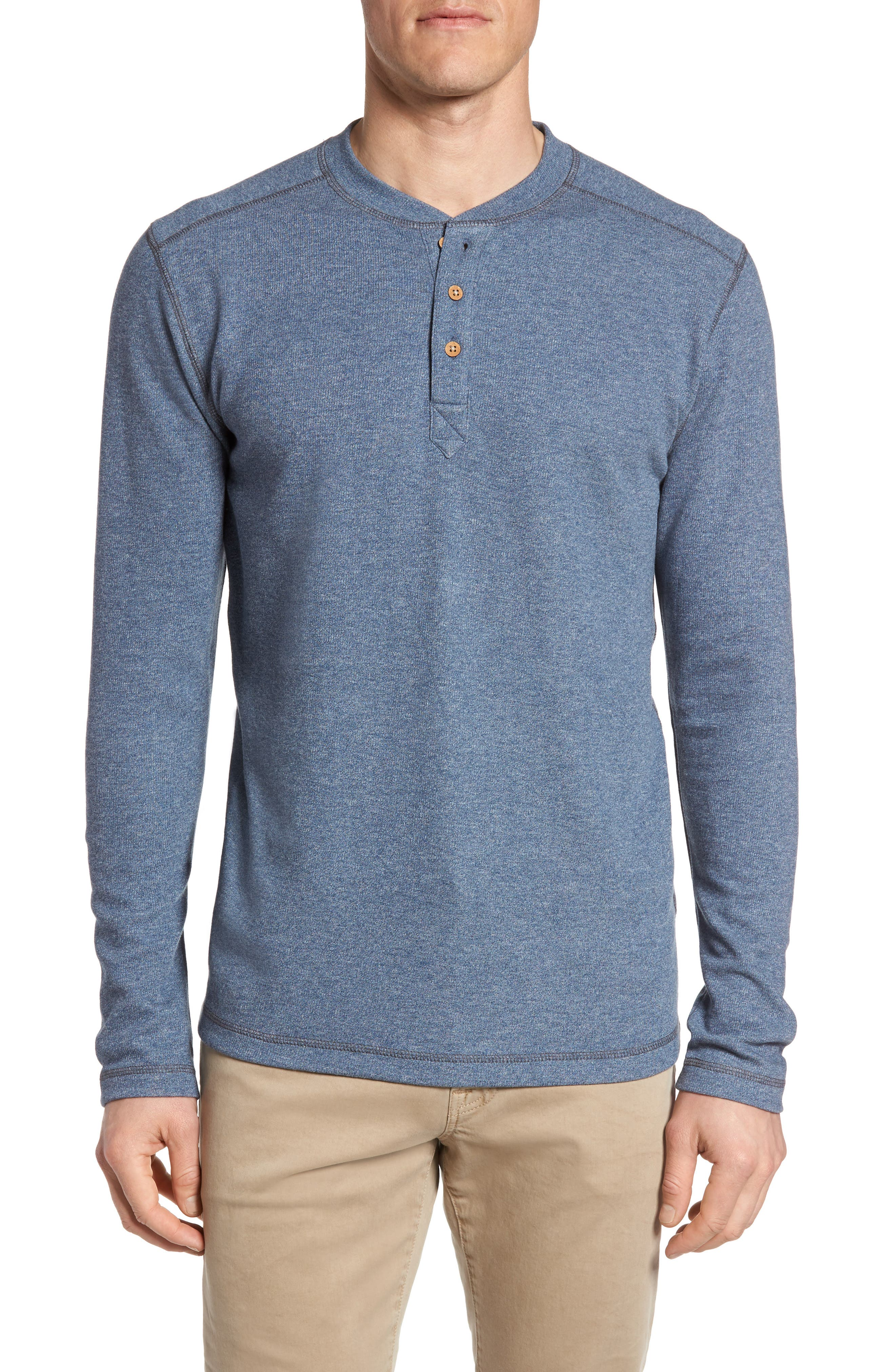 Flat Back Rib Henley,                         Main,                         color, Ice Blue