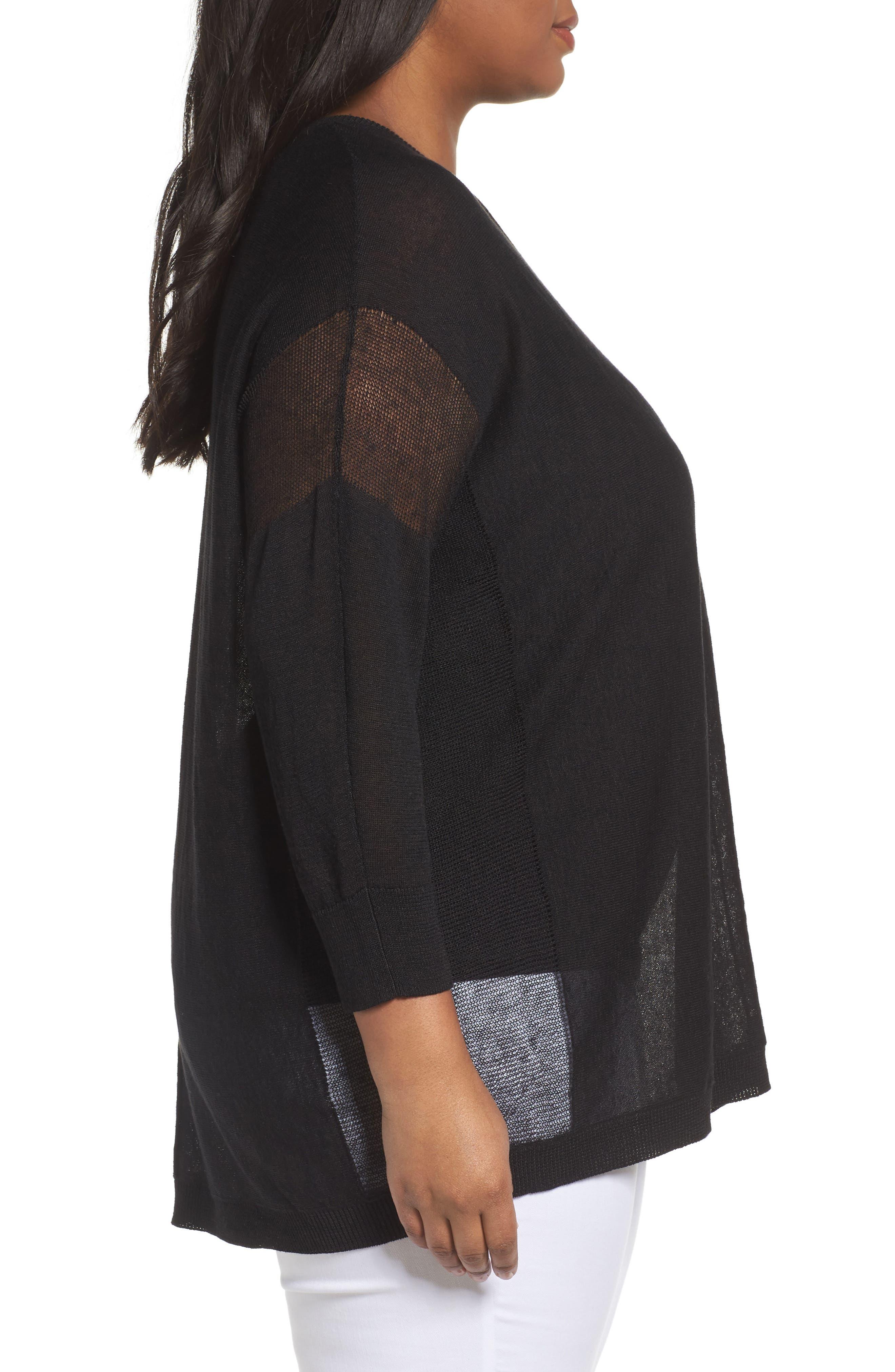 Alternate Image 3  - Sejour Sheer Inset Linen Blend Tunic Top (Plus Size)
